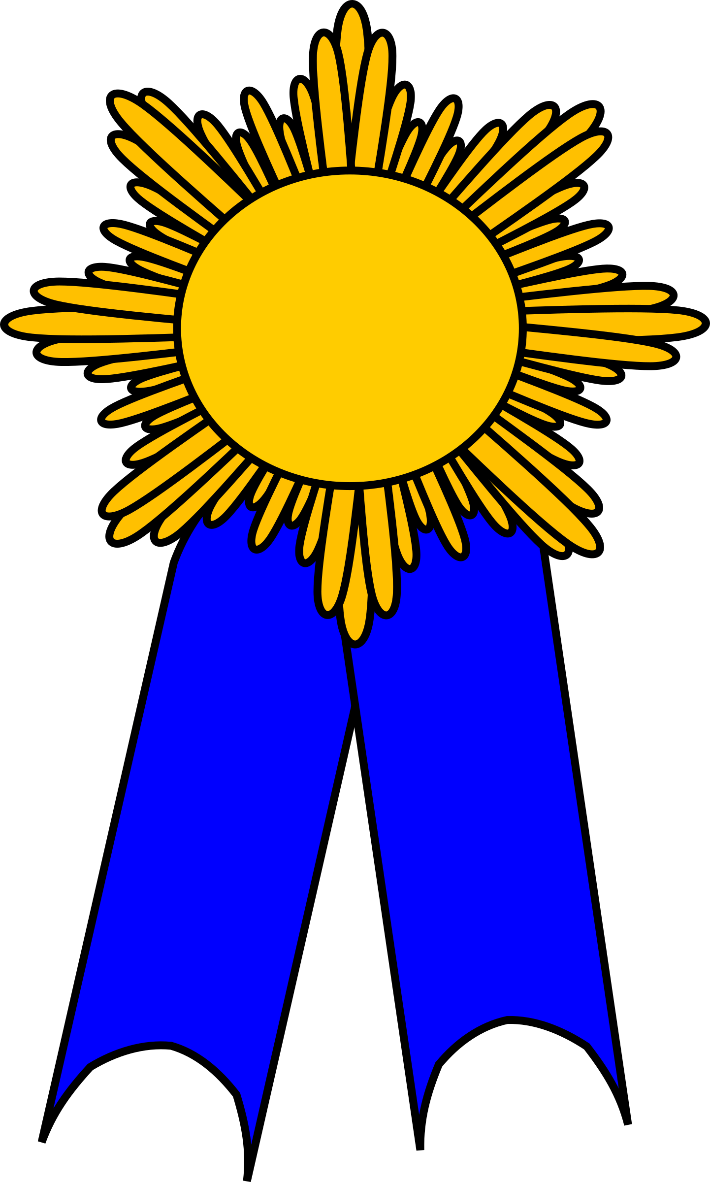 prize ribbon blue and gold by barnheartowl