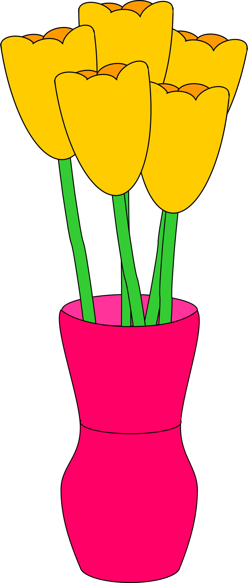 Pink vase of tulips by barnheartowl