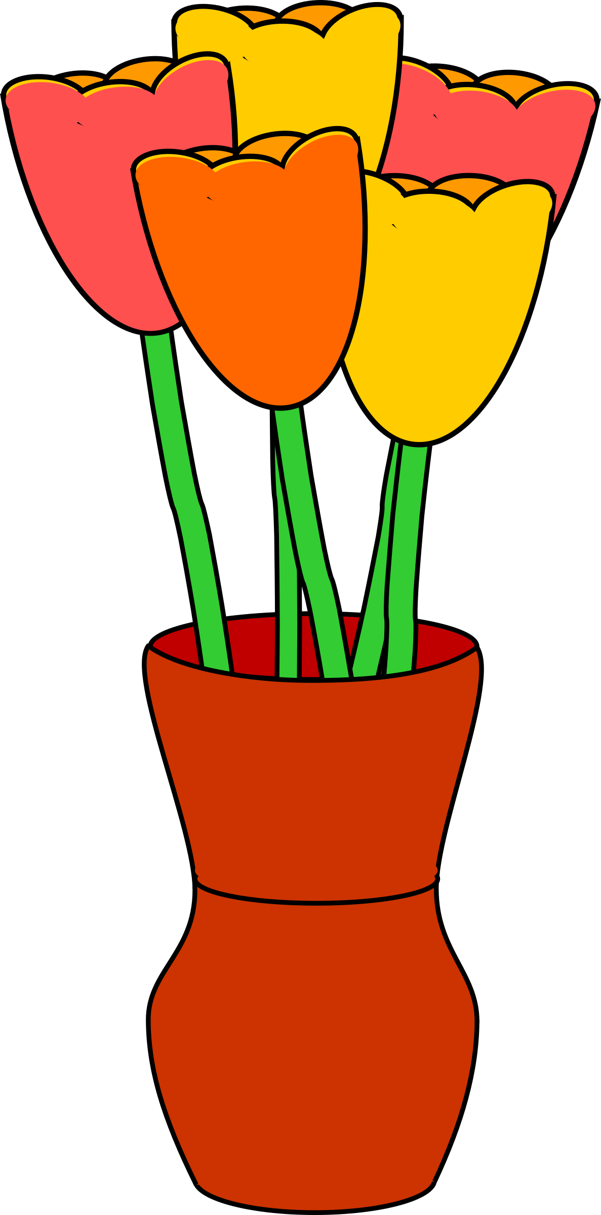 Brown vase with multicolored tulips by barnheartowl