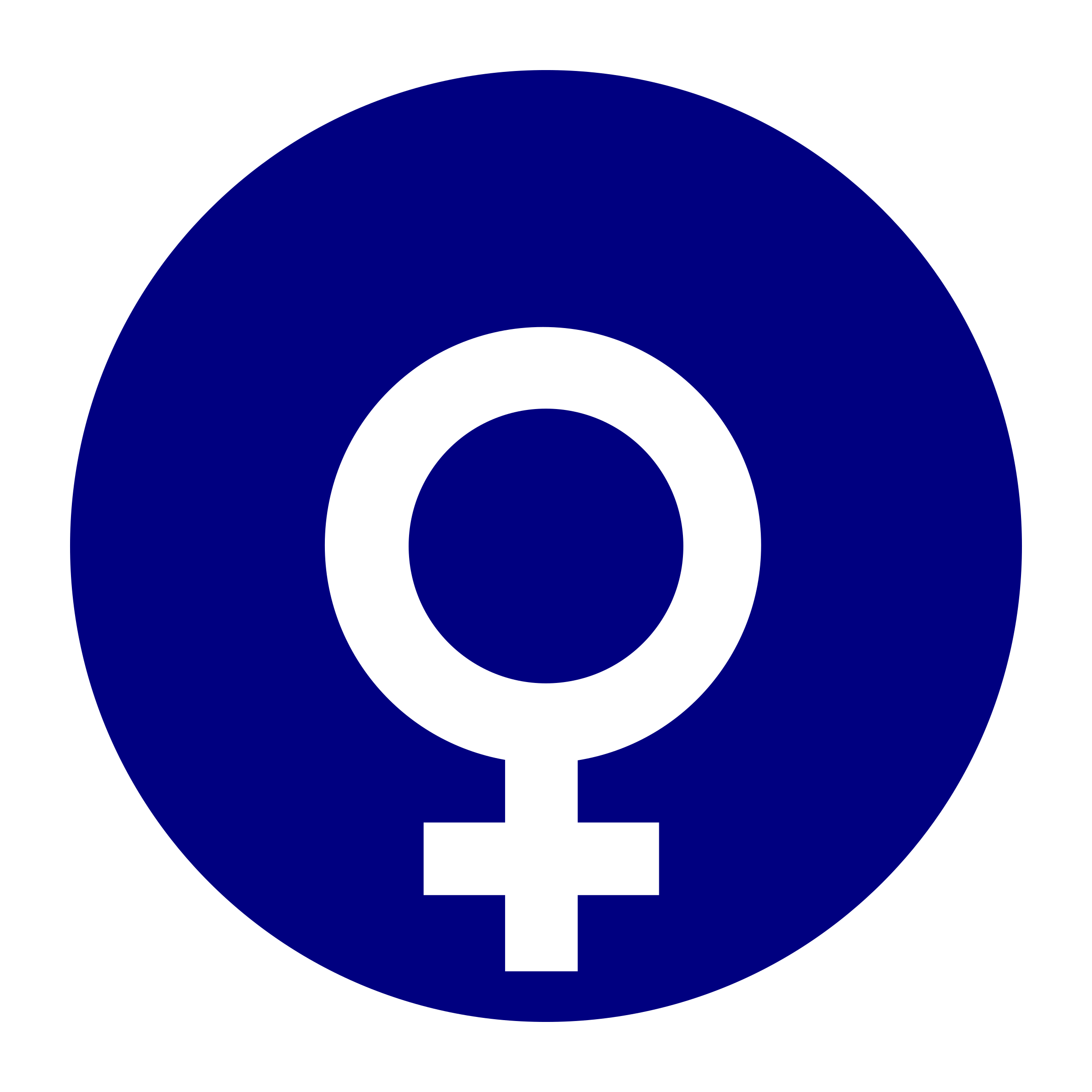 female gender symbol in a circle by worker