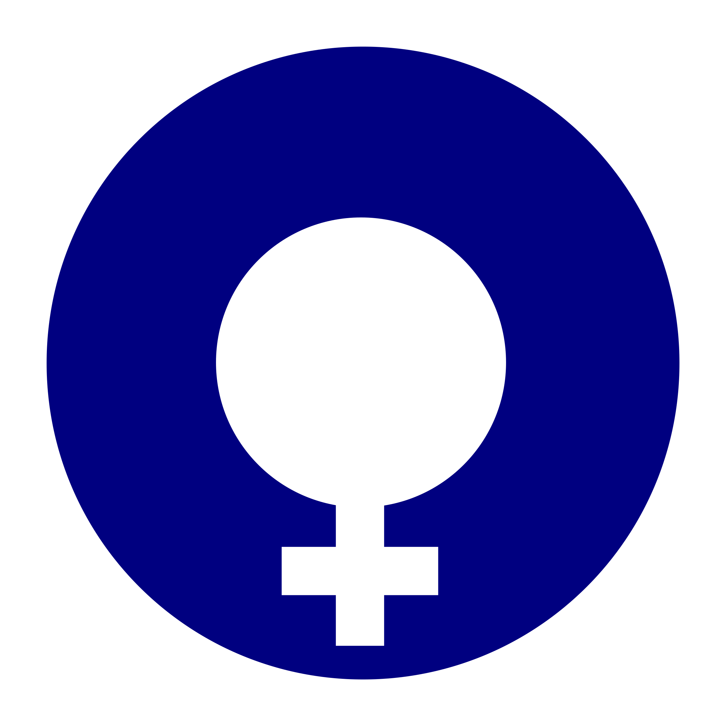 female gender symbol filled in a circle by worker