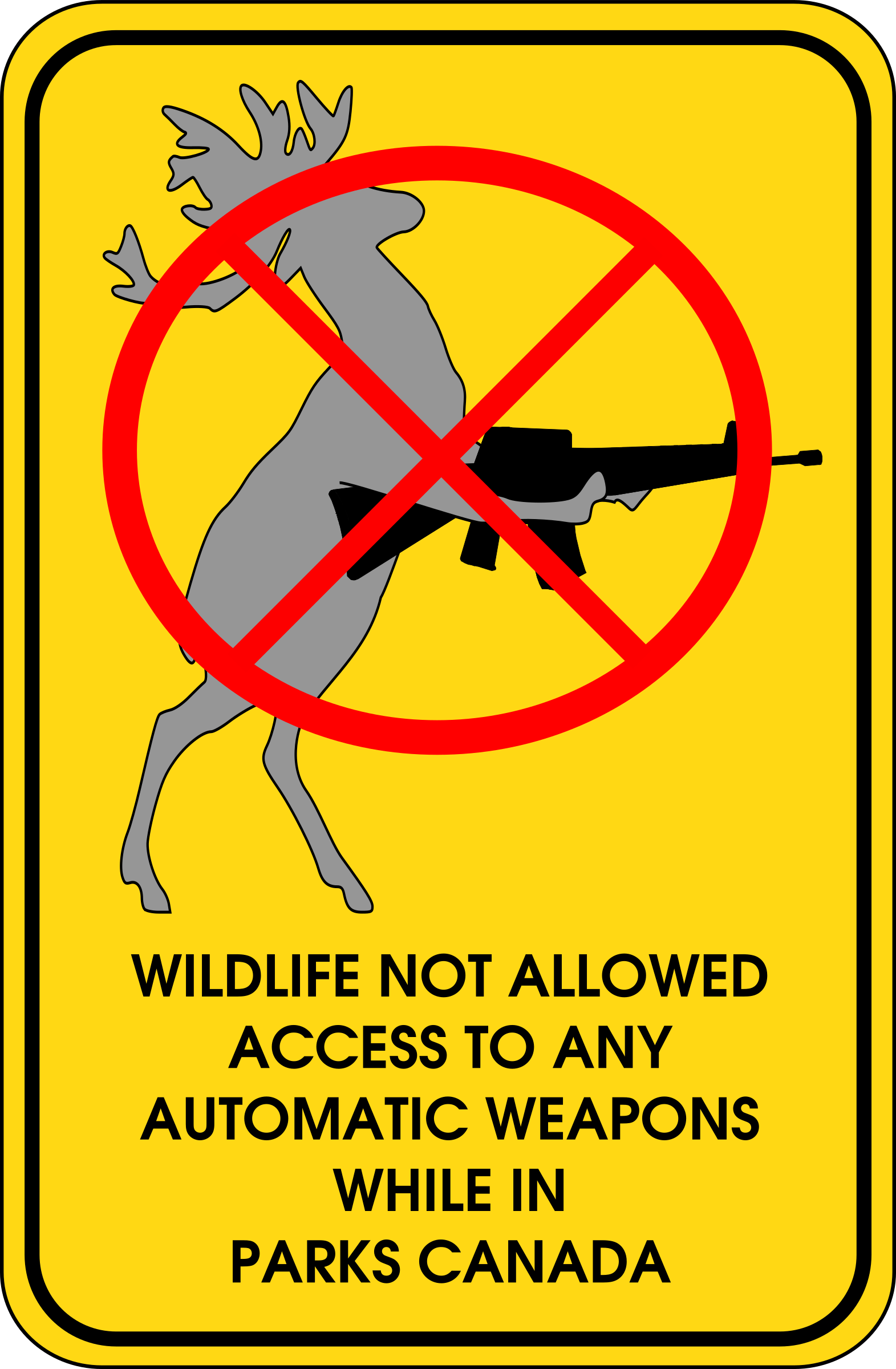 Wildlife Not Allowed To Access Automatic Weapons While In Parks Canada by beason