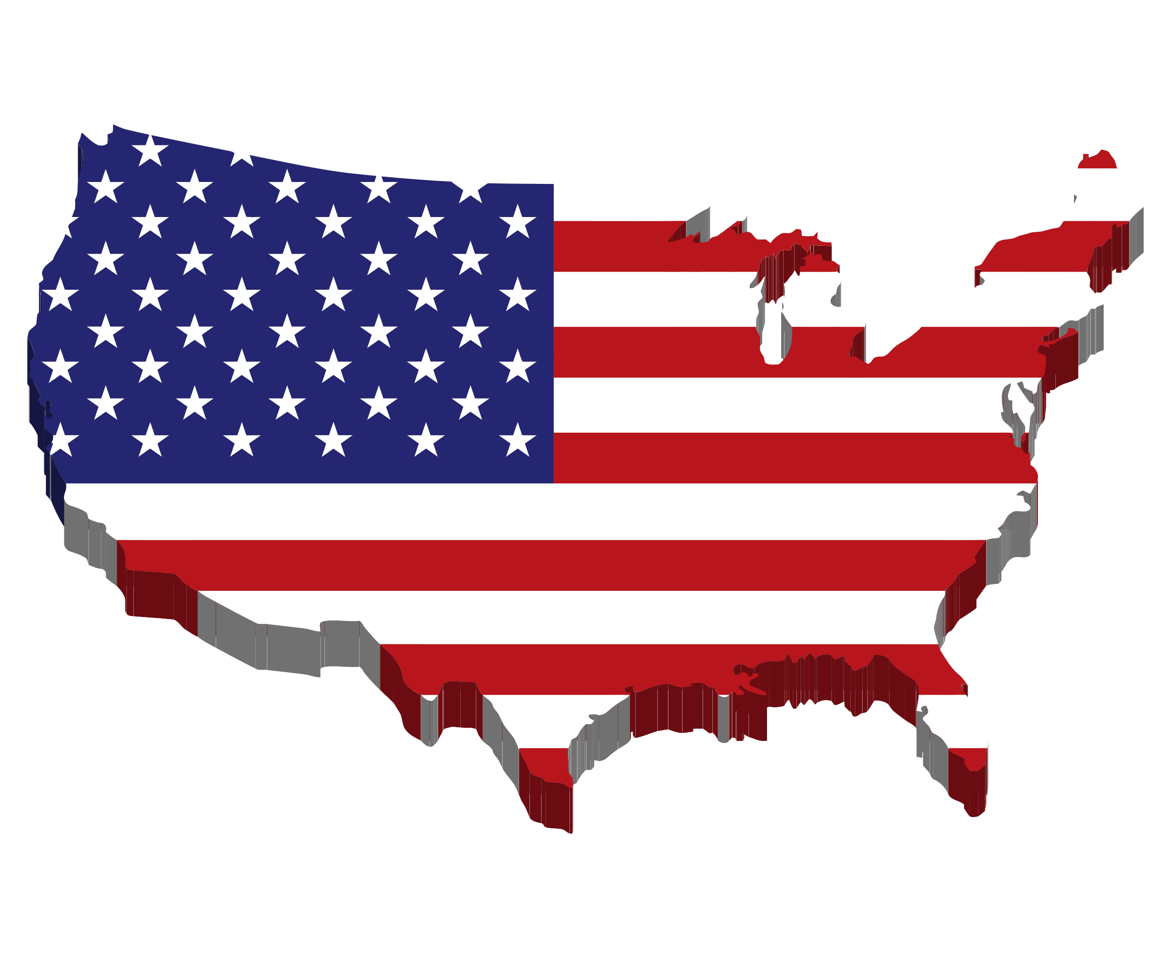 Clipart America Map Flag - Us map red png