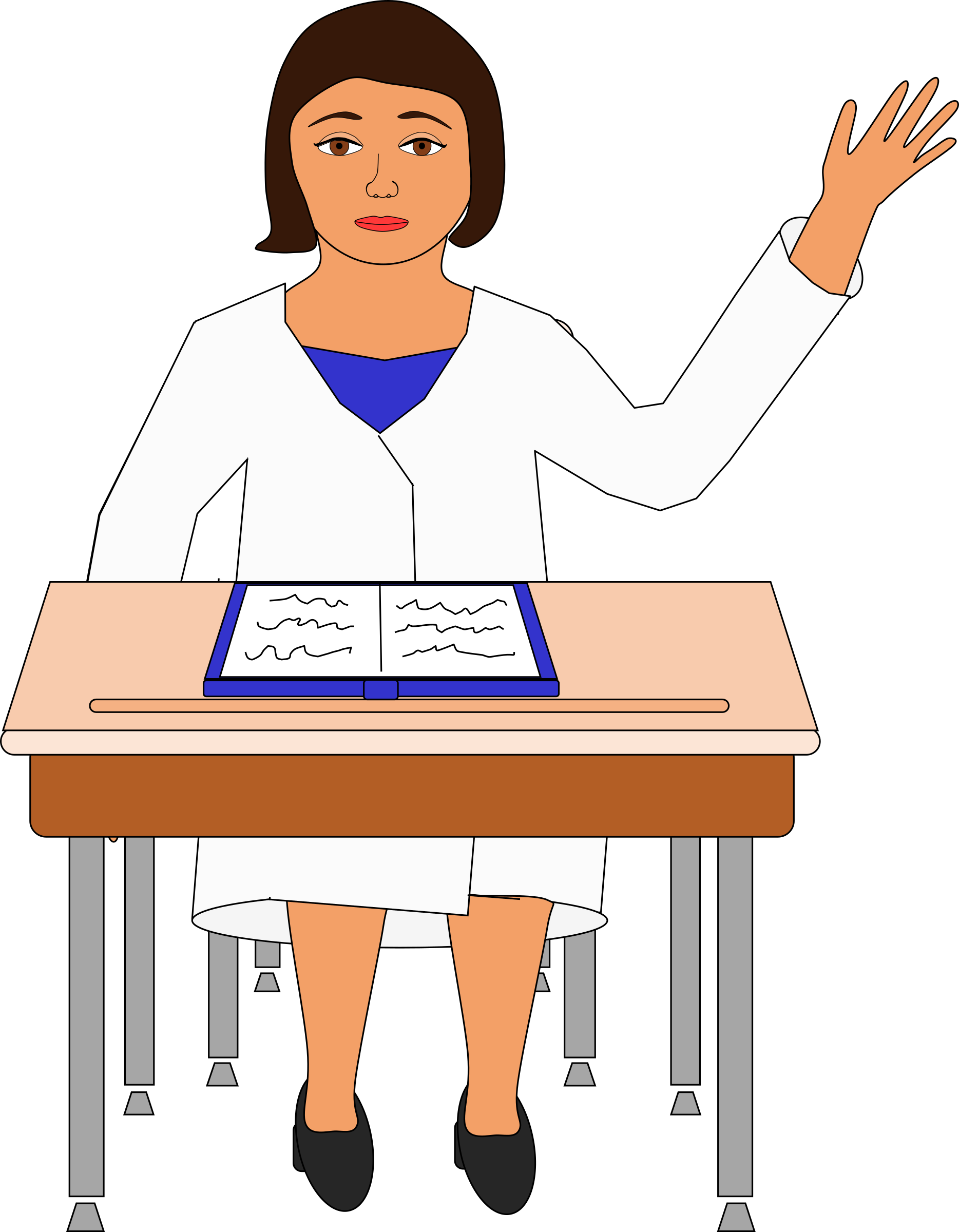 girl raising her hand at a desk by barnheartowl