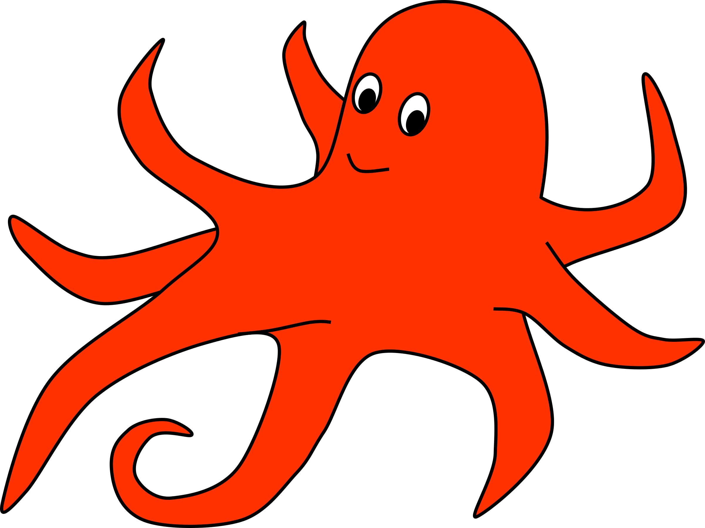 Oval of Orange Octopus by barnheartowl