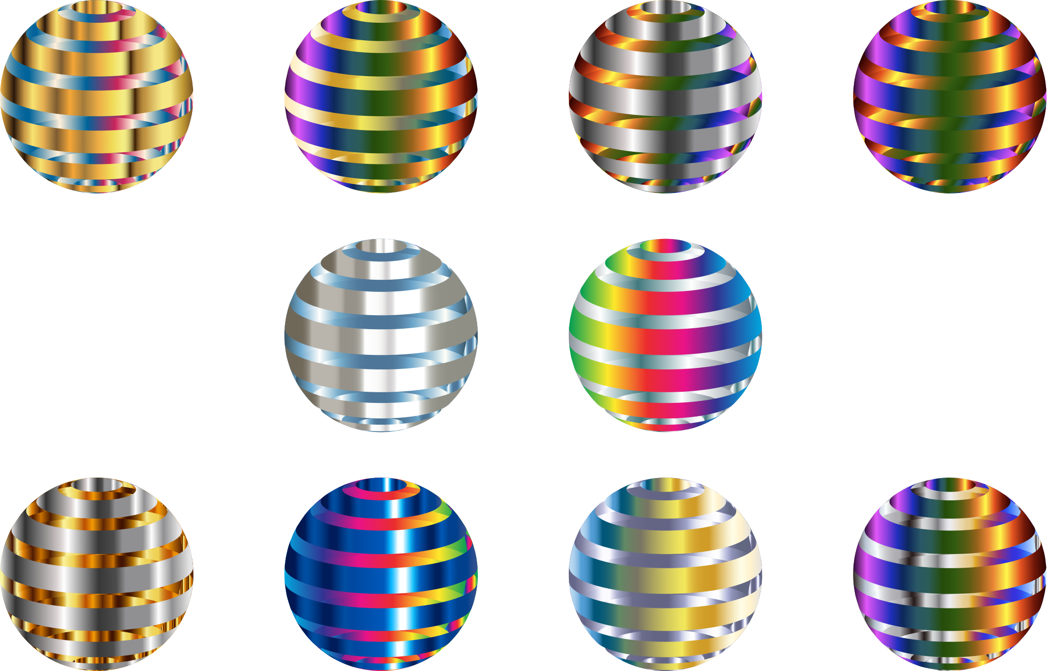 Set Of 10 Shiny Metallic 3D Spheres by GDJ
