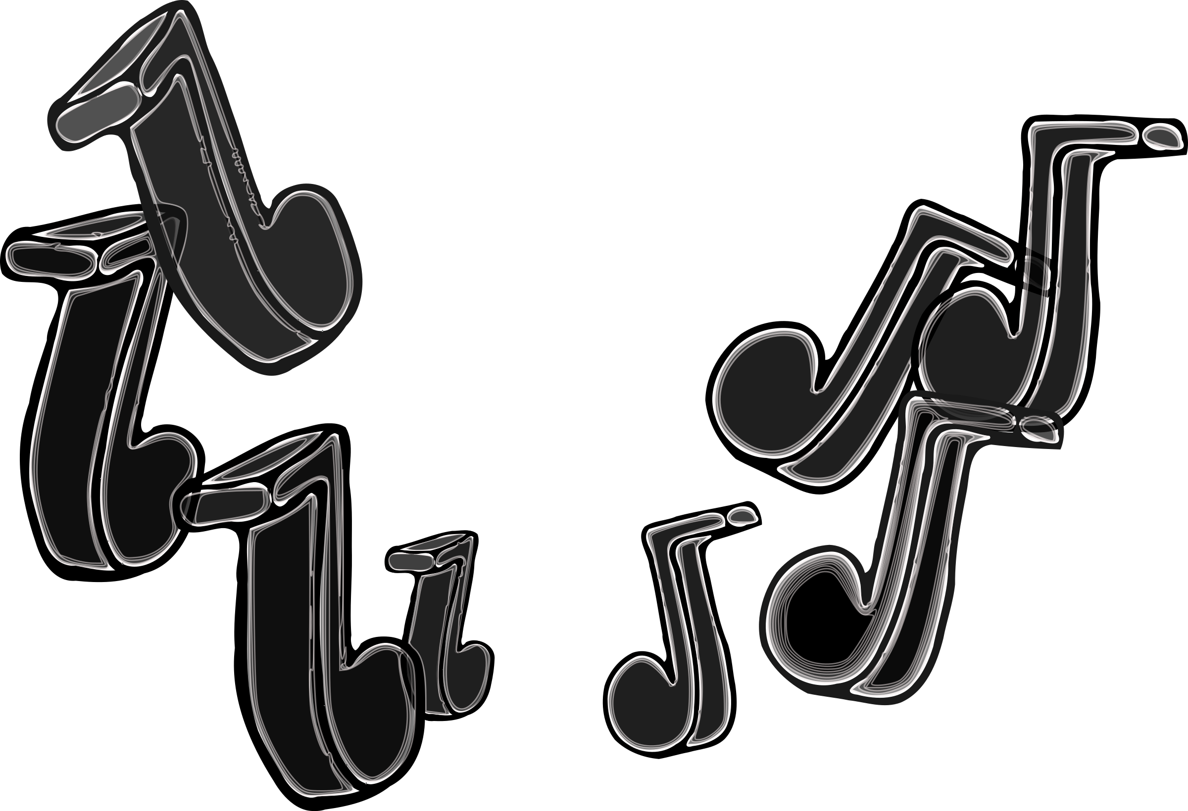 Music Notes All Black by camgee