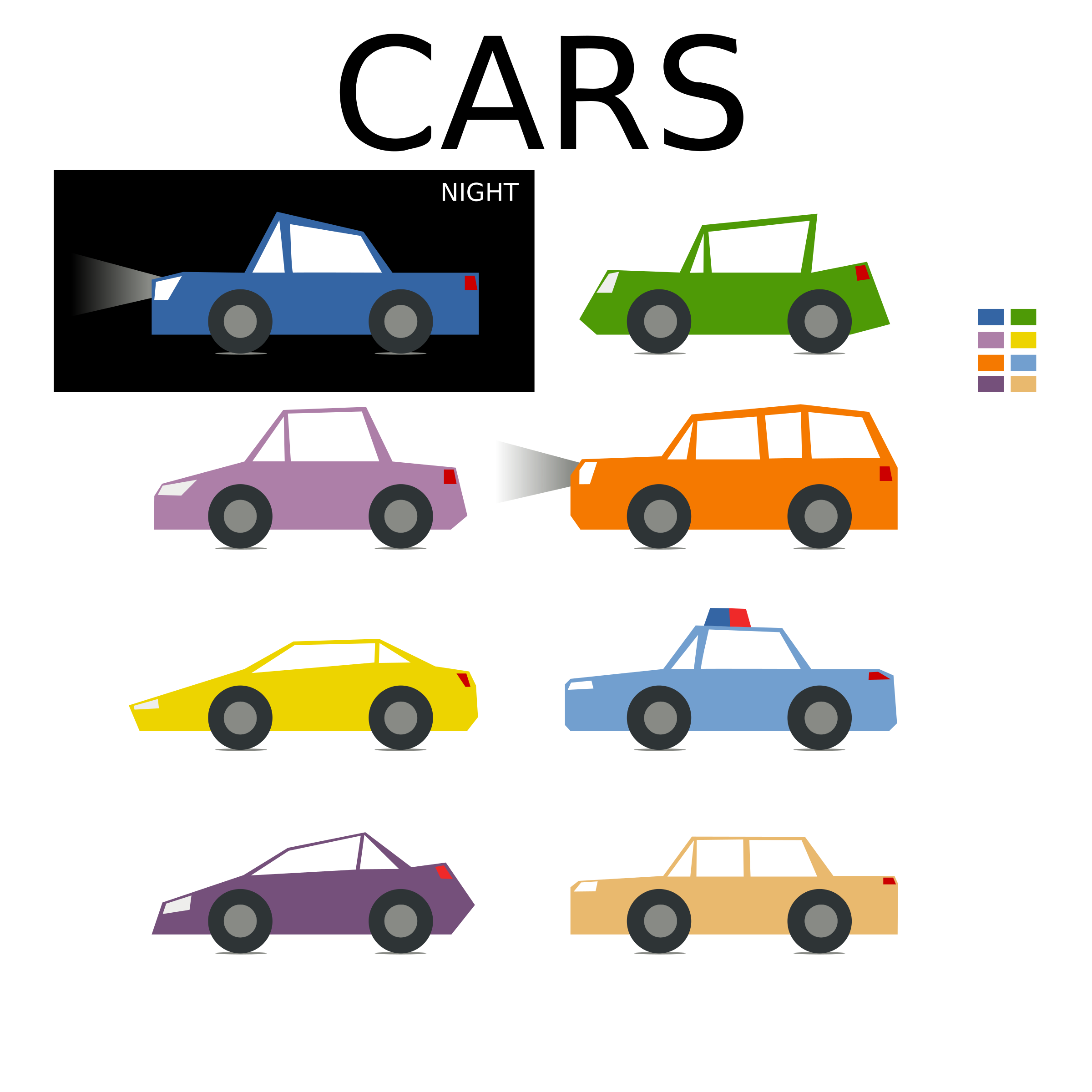 Minimal colored car collection for games by monsterbraingames