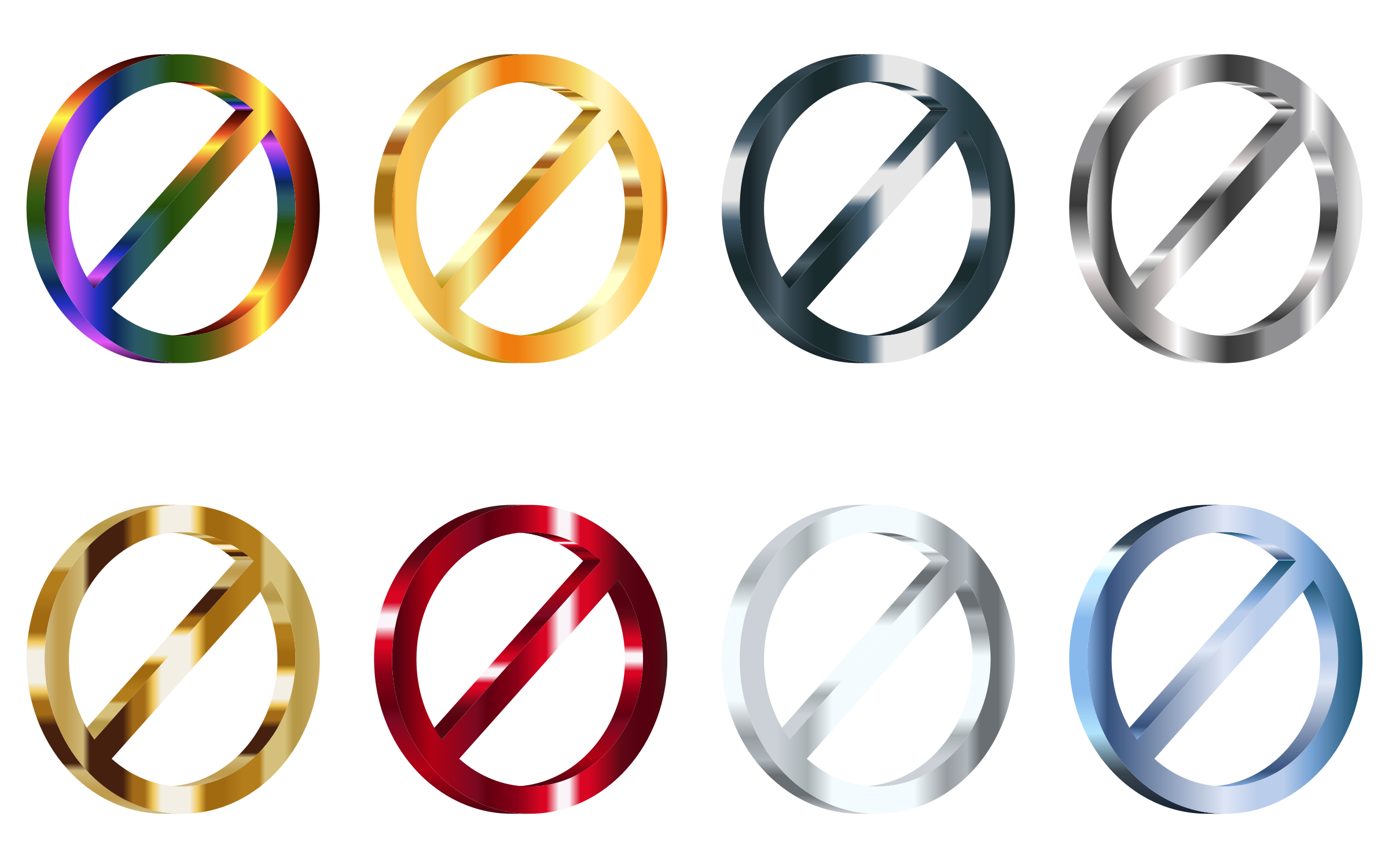 3D Shiny Metallic No Signs (Set Of 8) by GDJ