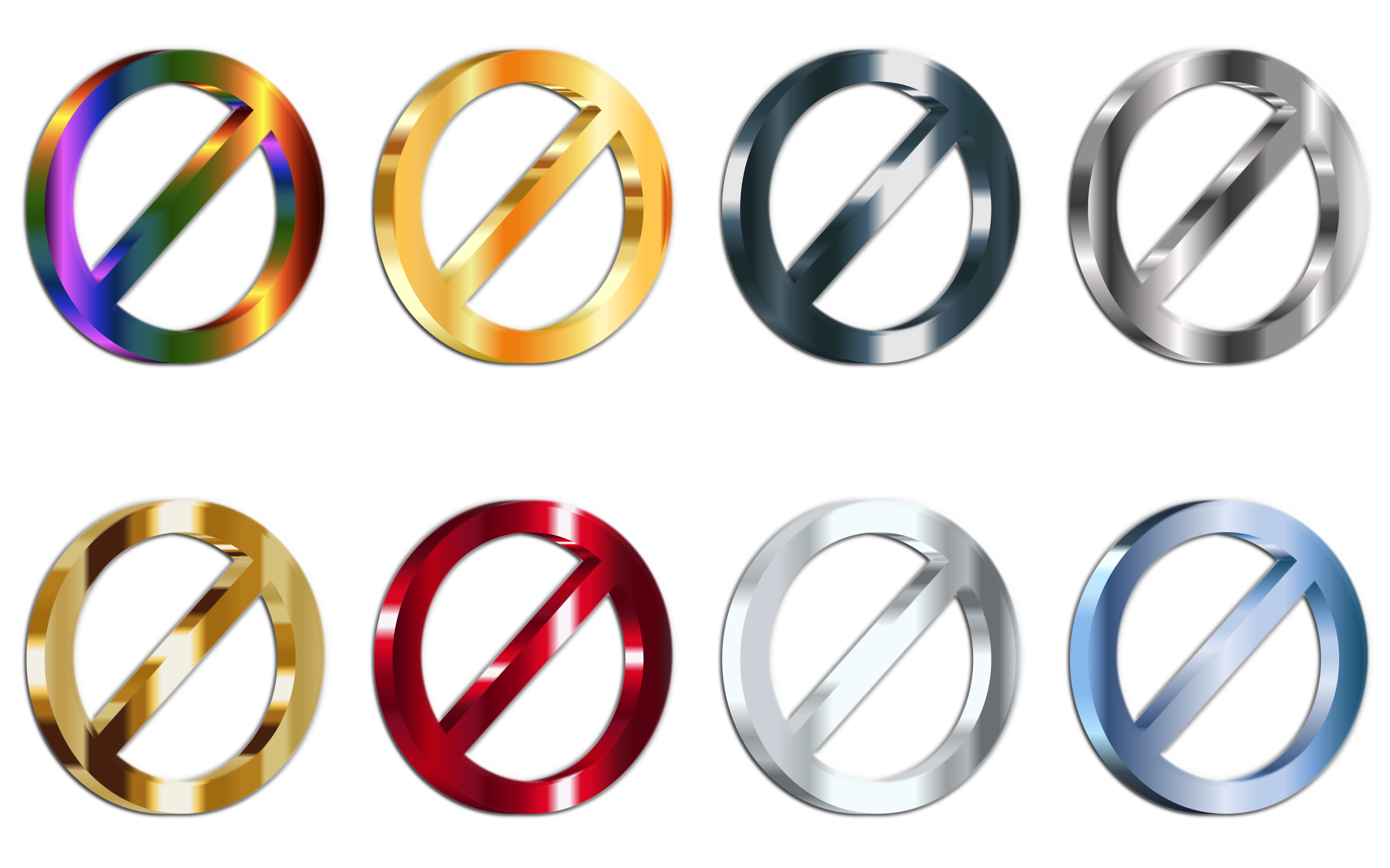 3D Shiny Metallic No Signs (Set Of 8) With Shading by GDJ