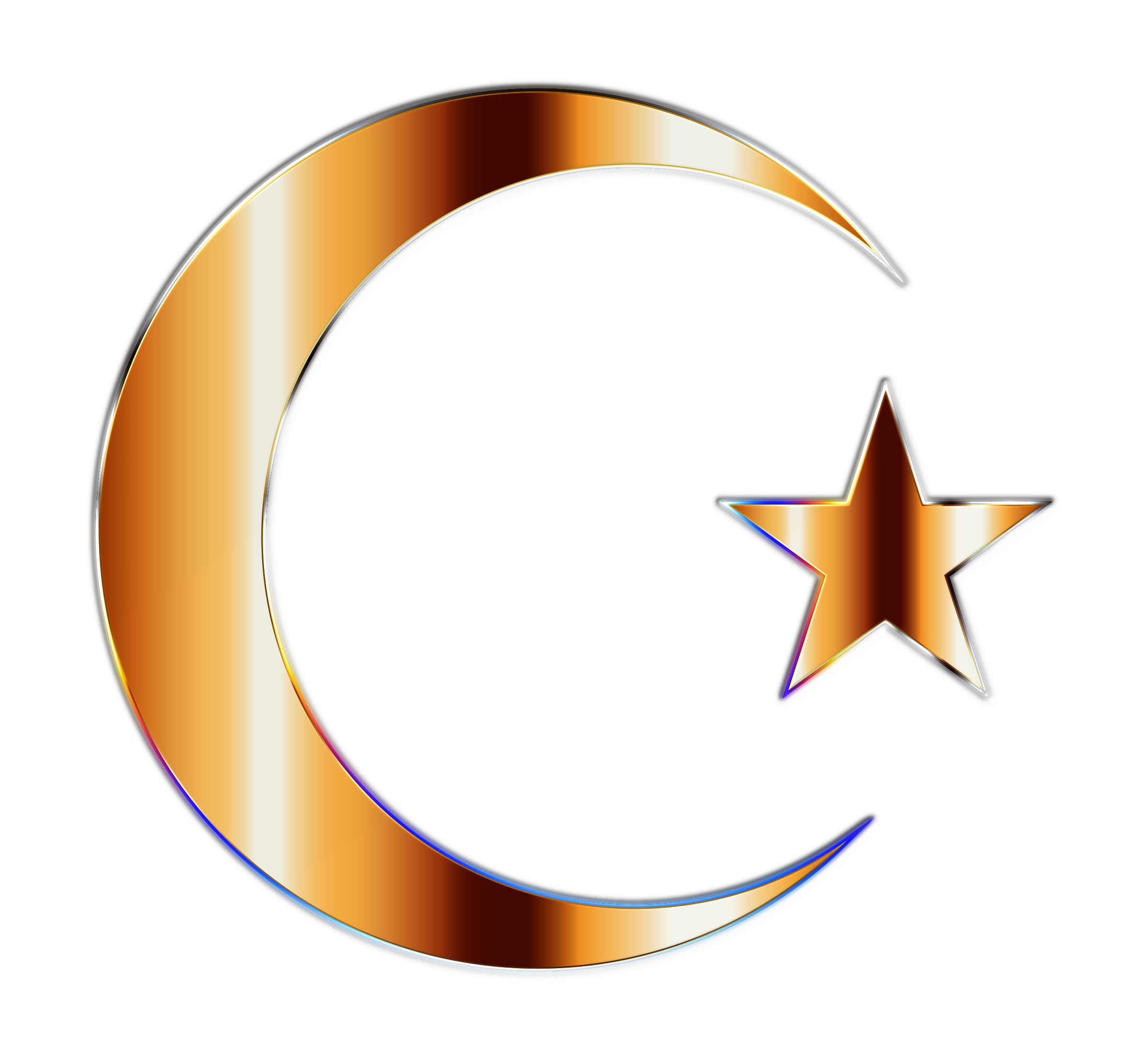 Clipart - Golden Crescent Moon And Star