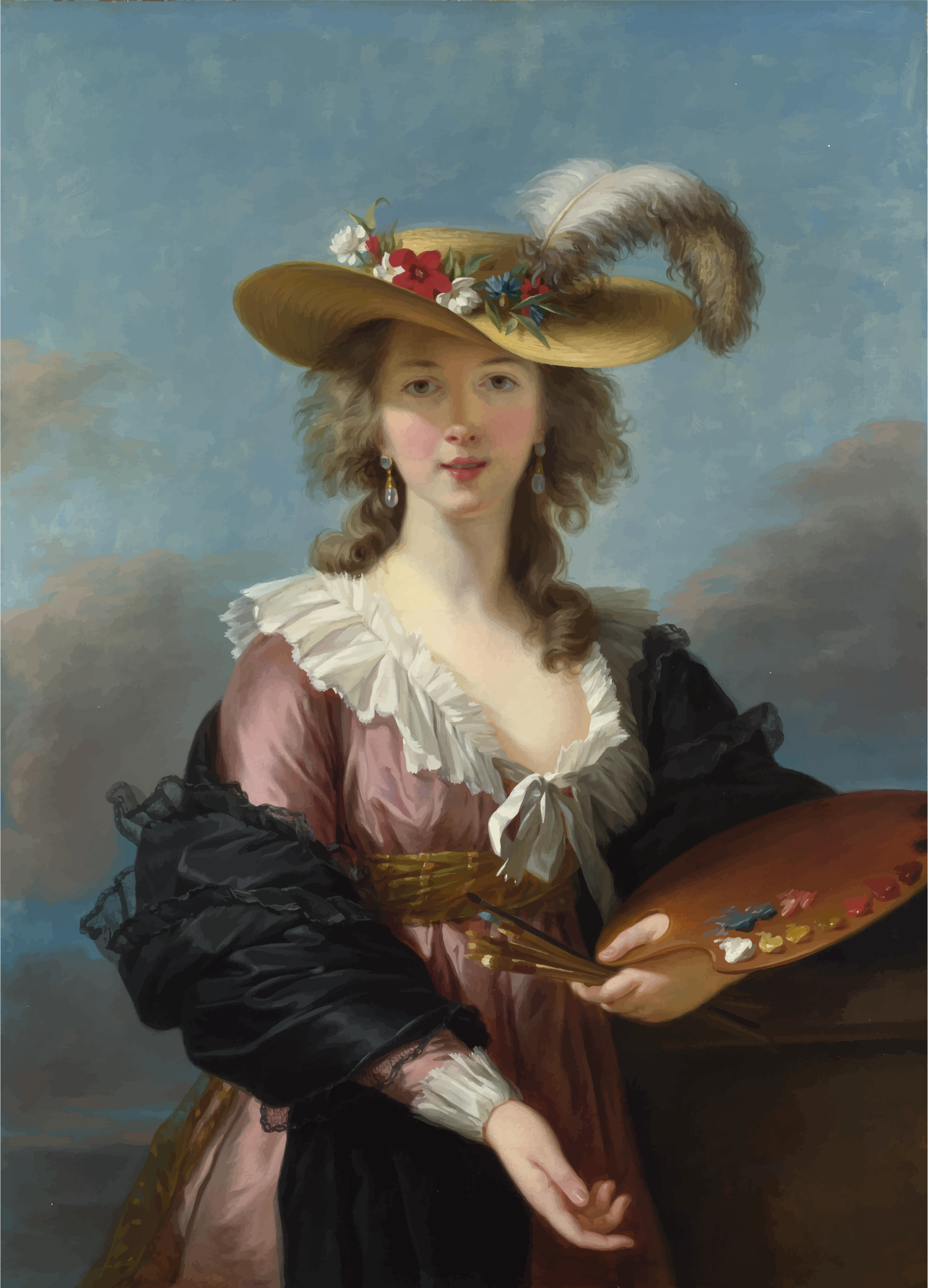 Self portrait in a Straw Hat by Elisabeth Louise Vigee Lebrun by GDJ