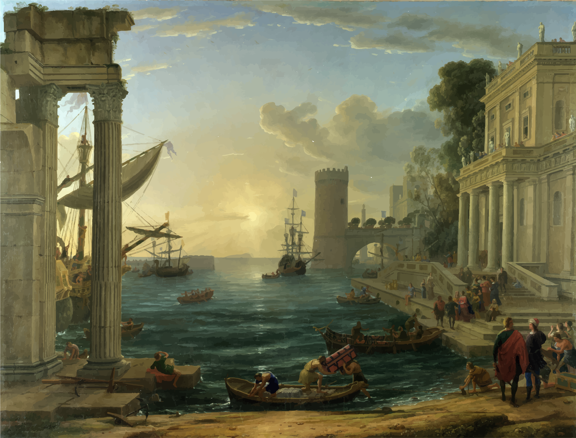 Seaport with the Embarkation of the Queen of Sheba by GDJ