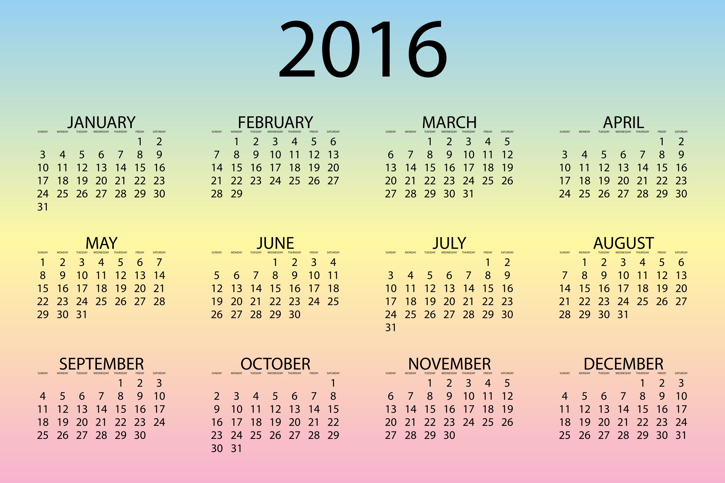 2016 Calendar Pastel by GDJ