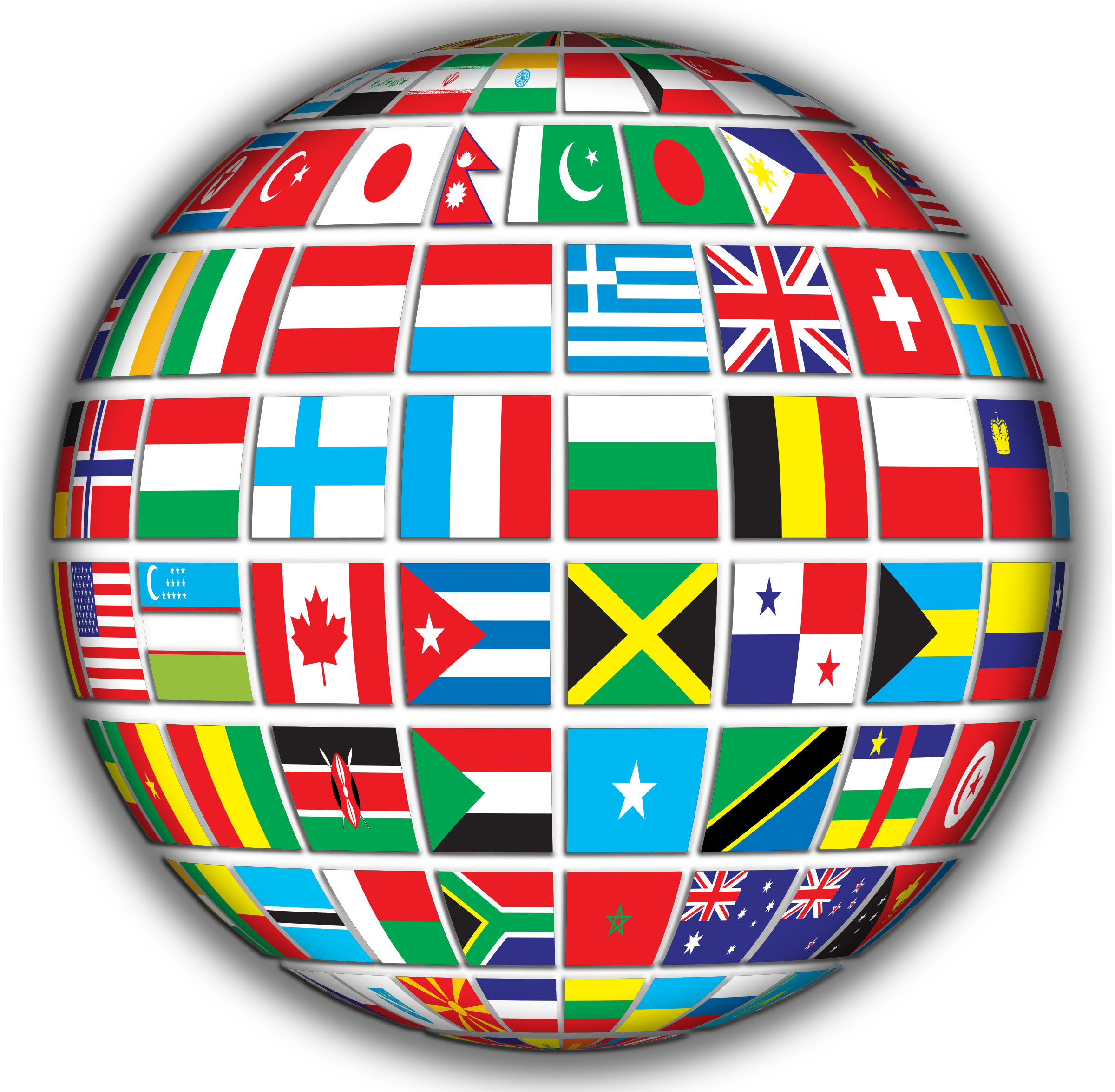 World Flags Globe With Shading by GDJ