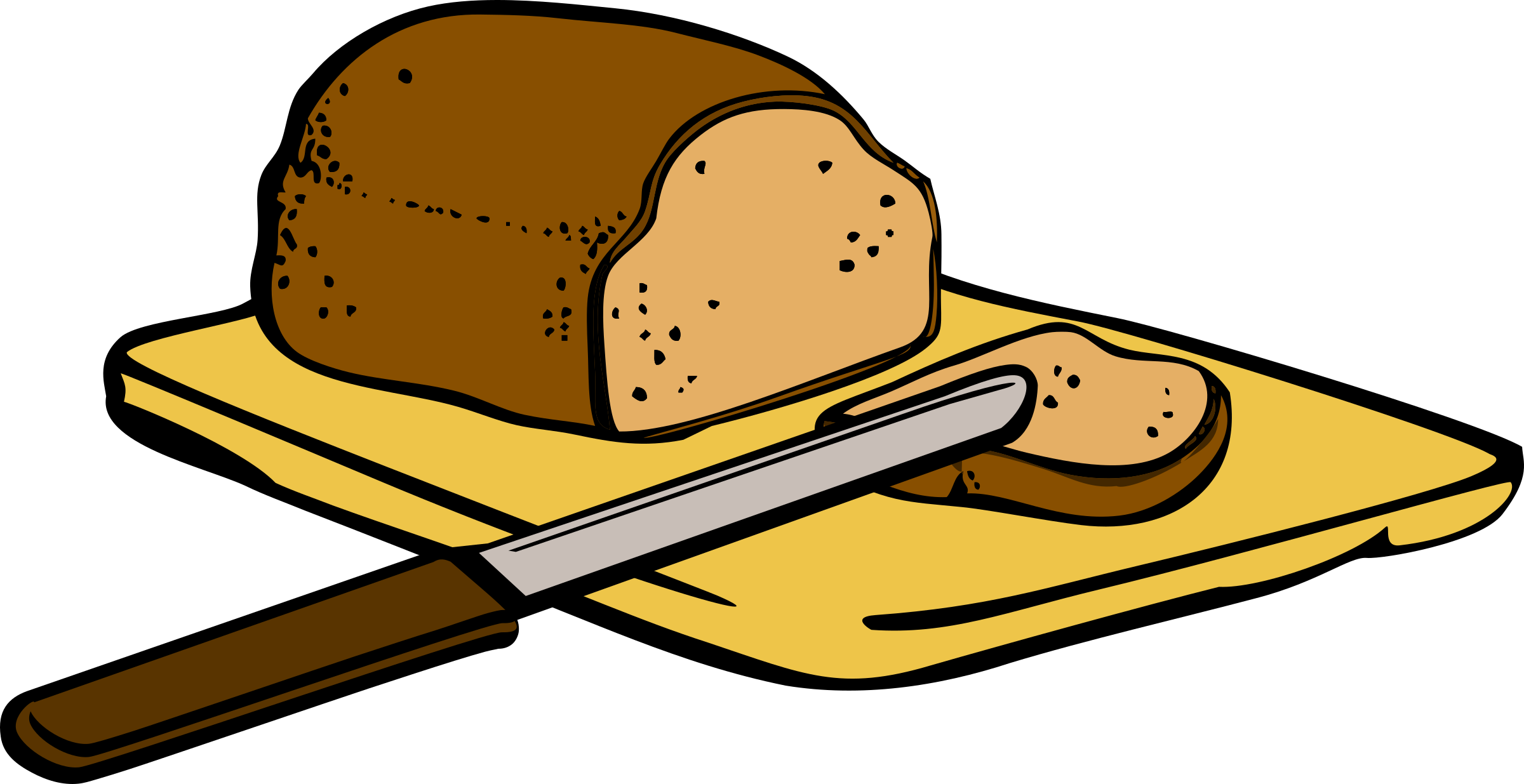 Bread with knife on cutting board by rdevries