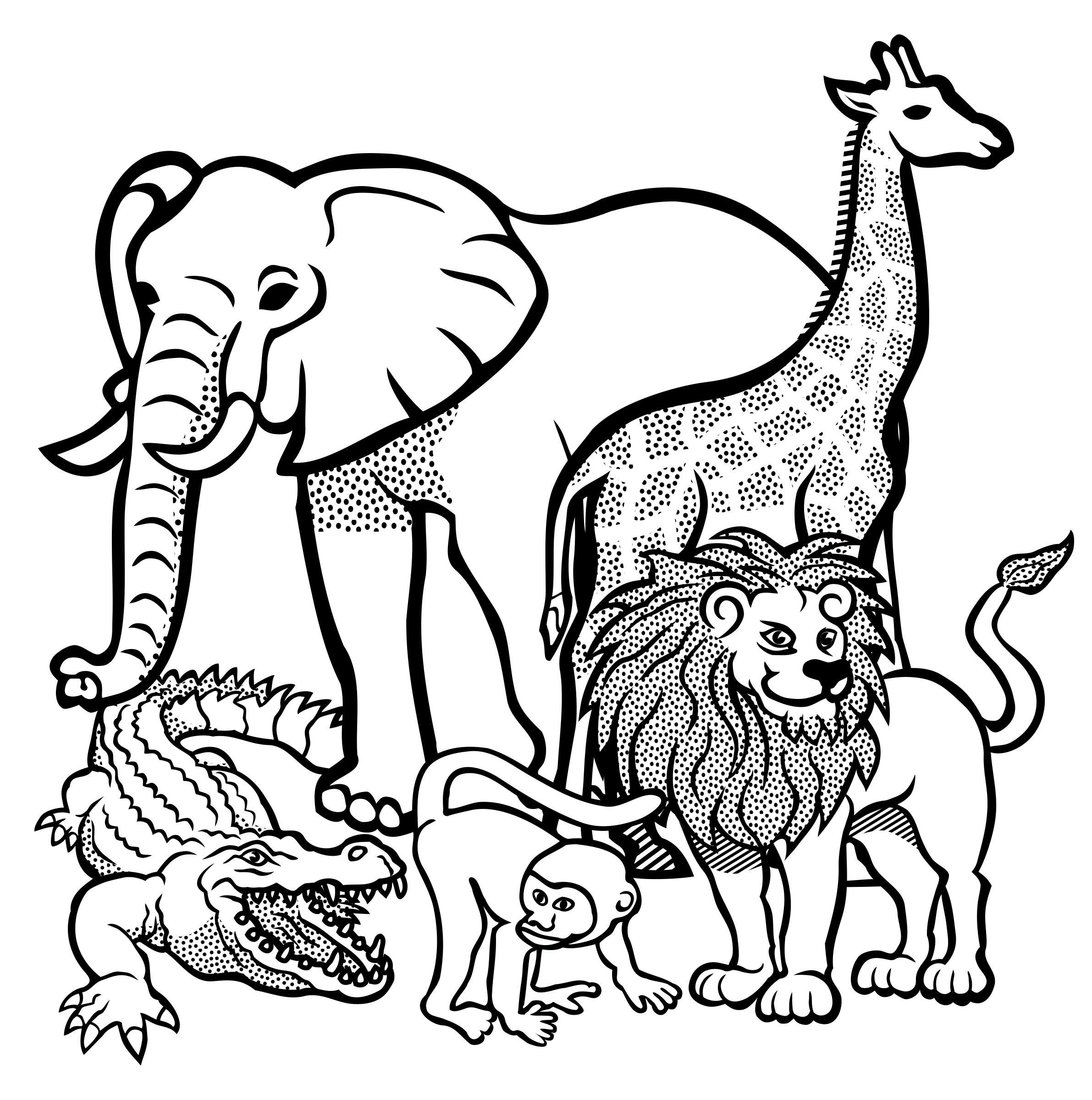 Black And White Line Drawings Of Animals : Clipart african animals lineart