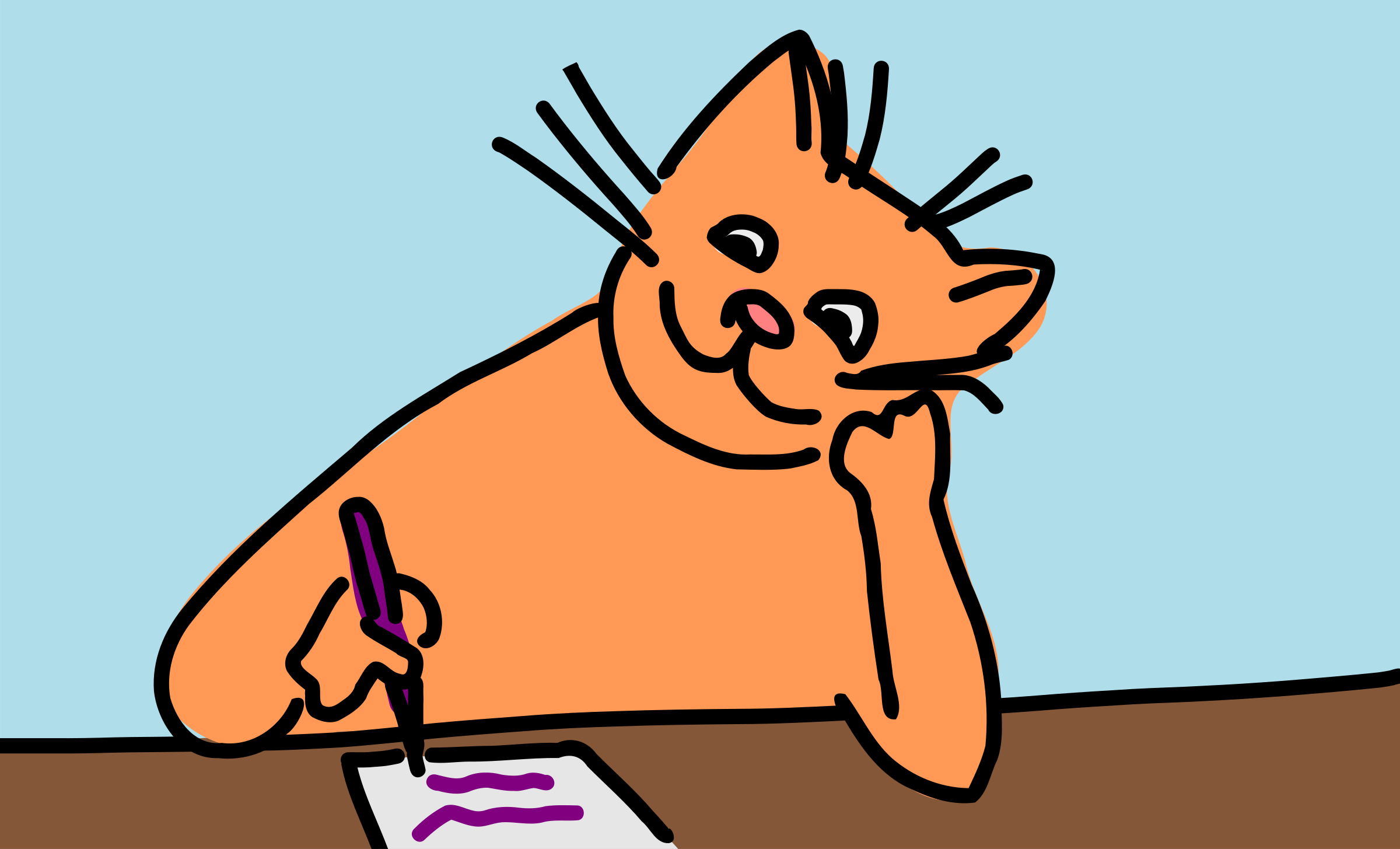 Writing cat by rones