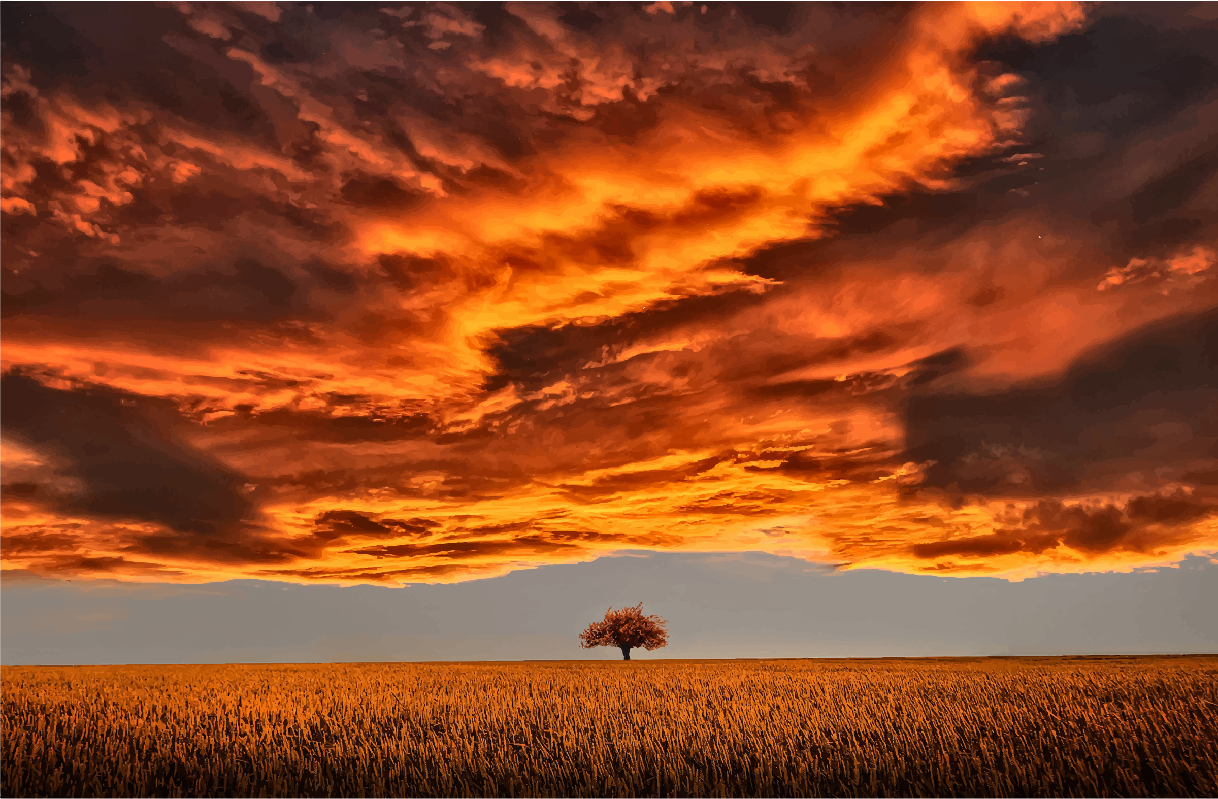 Lone Tree Under A Scorched Sky by GDJ