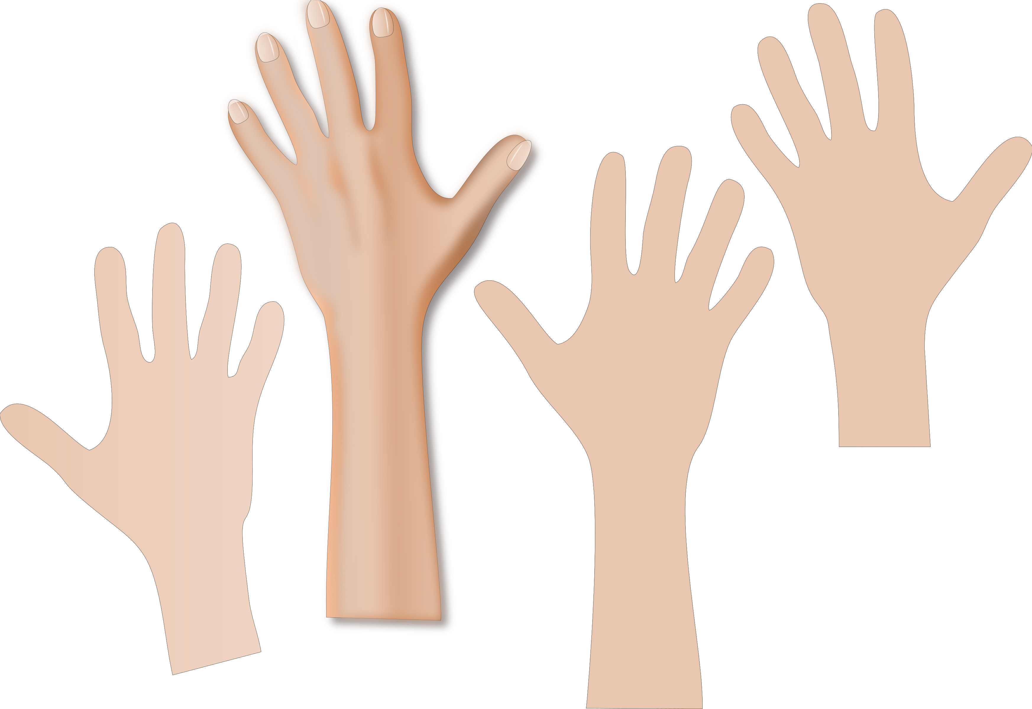 clipart hands reaching with skin color