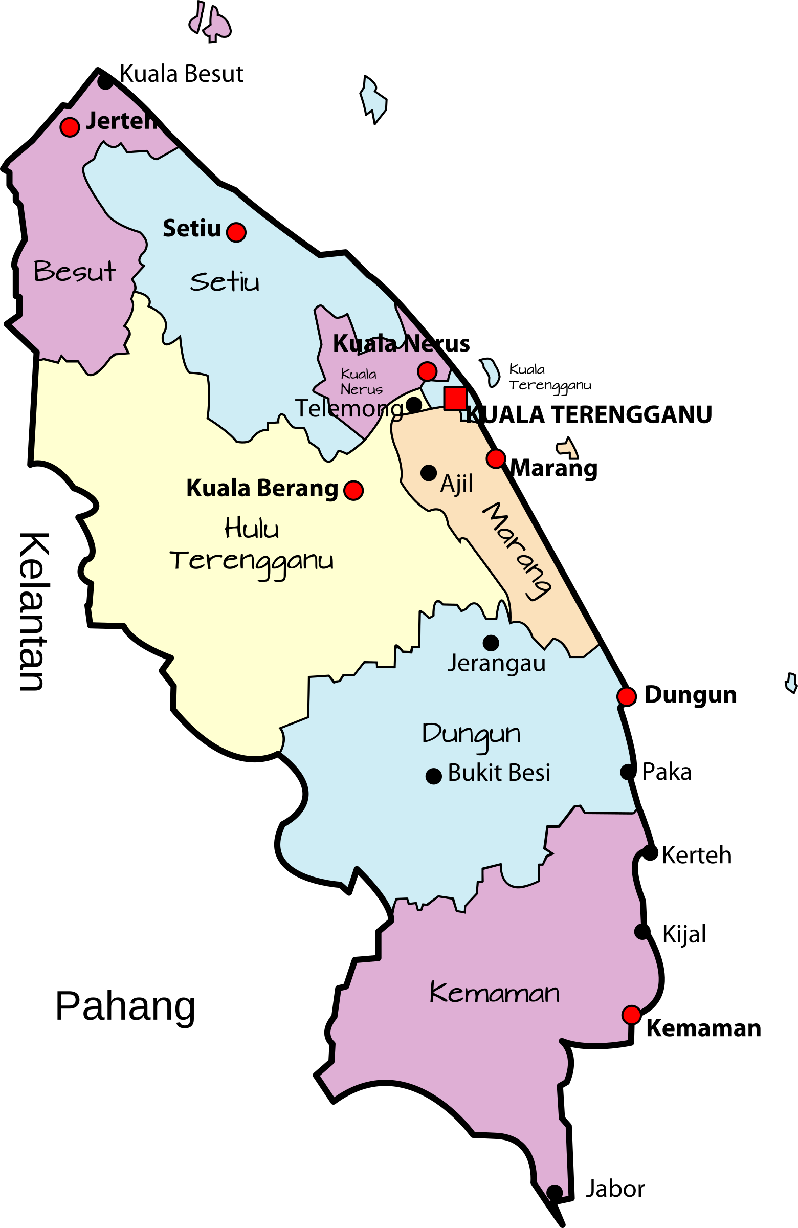 Parliamentary map of Terengganu, Malaysia by derkommander0916