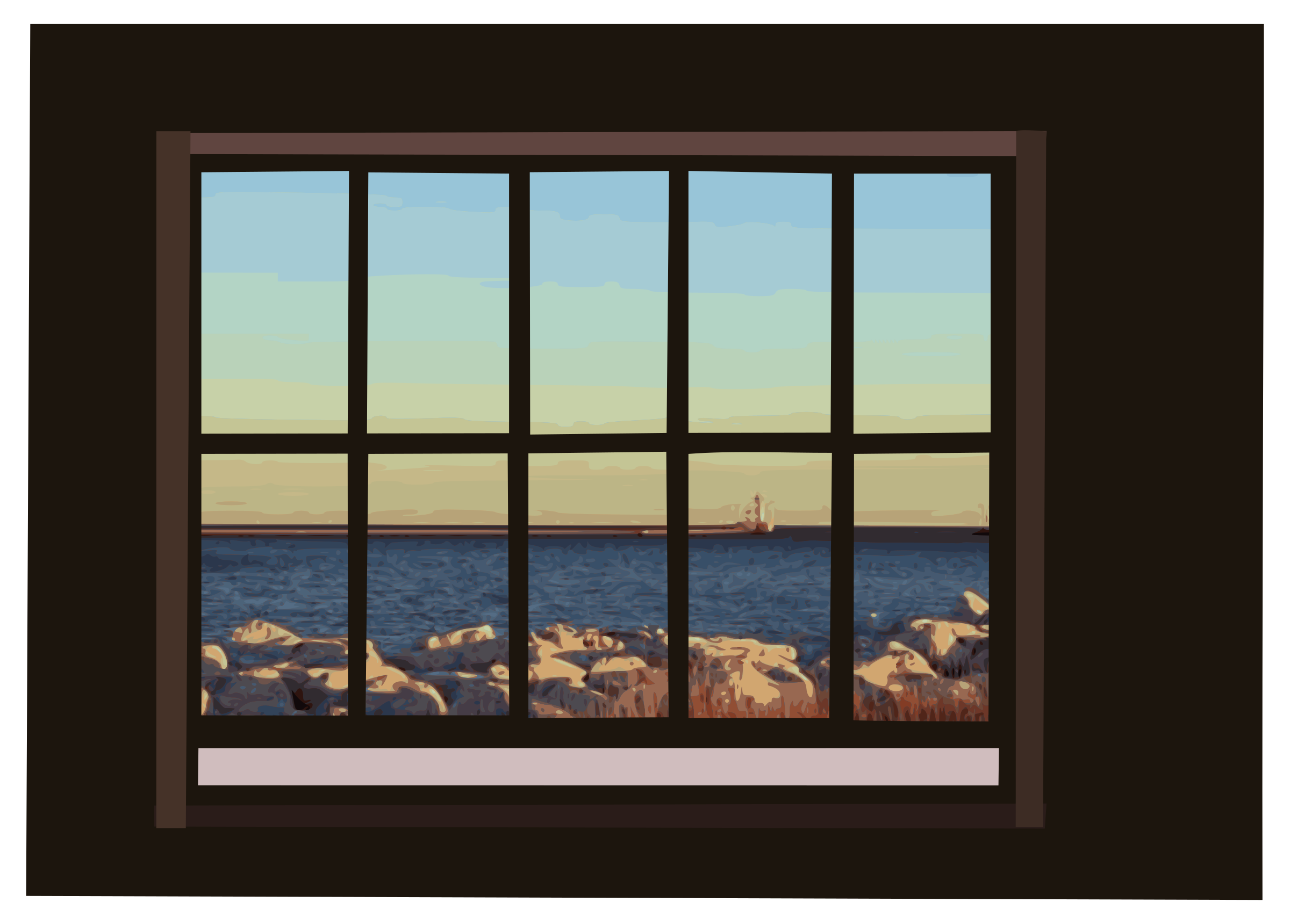Clipart window with ocean view for Windows new window