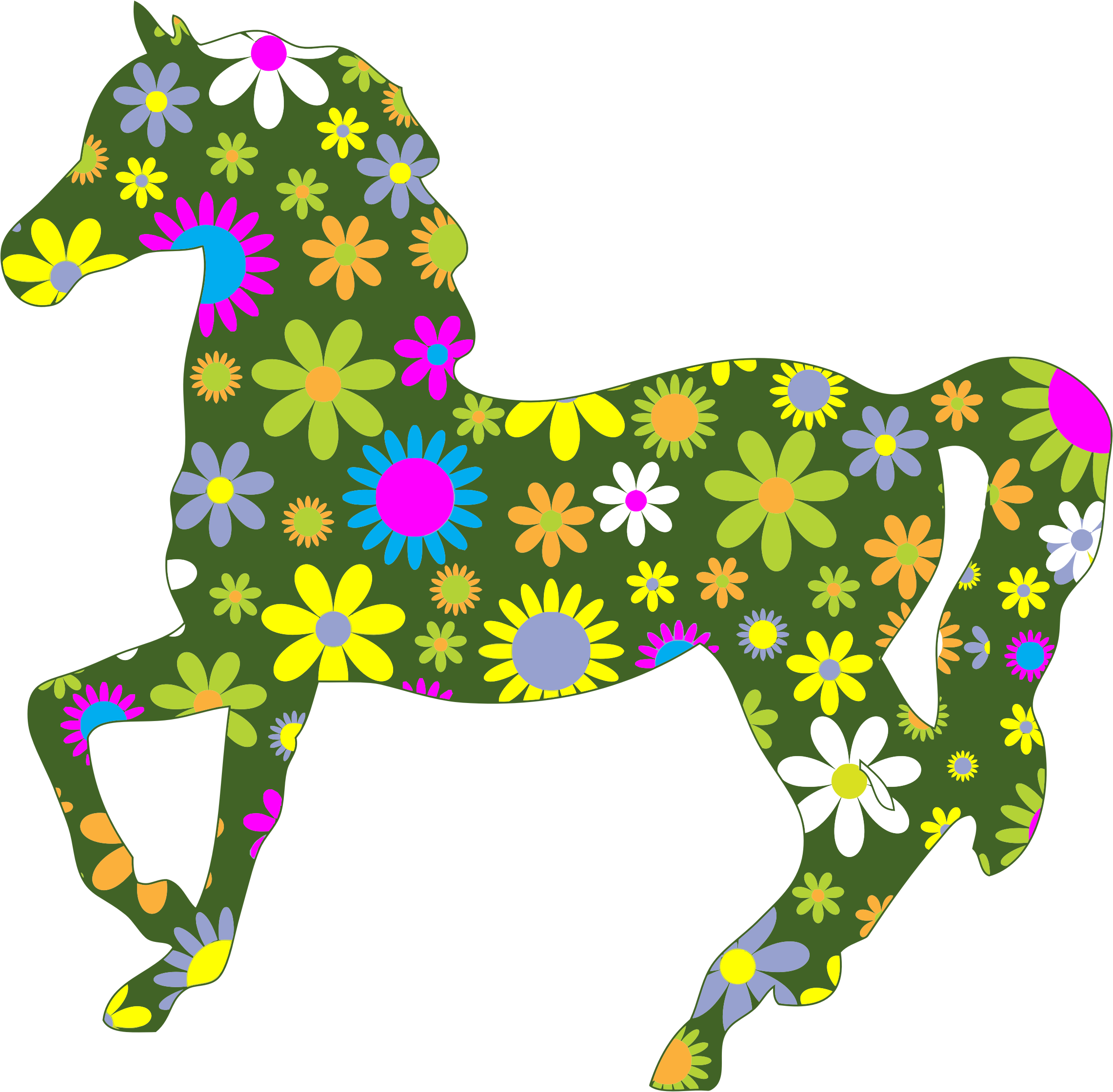 Retro Floral Horse by GDJ