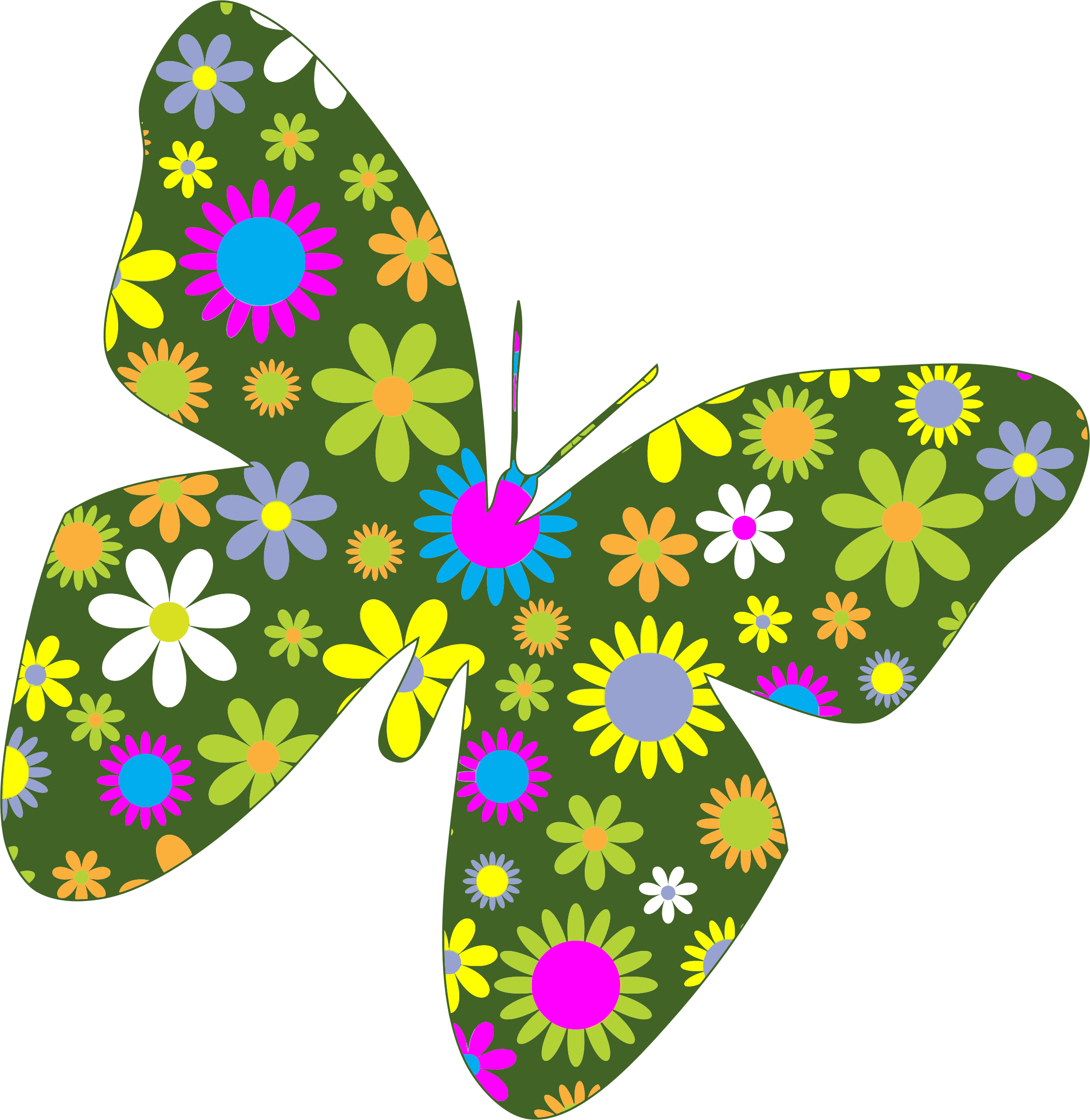 Retro Floral Butterfly by GDJ