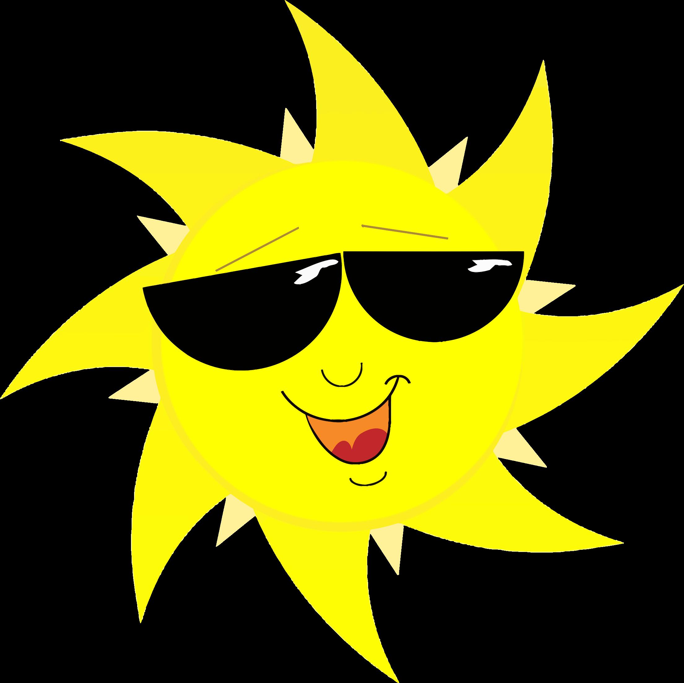 Sun with sunglasses clipart