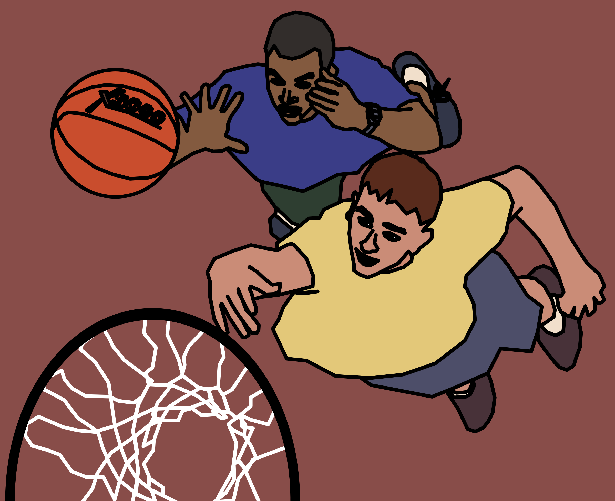 Two Guys Play Basketball by j4p4n