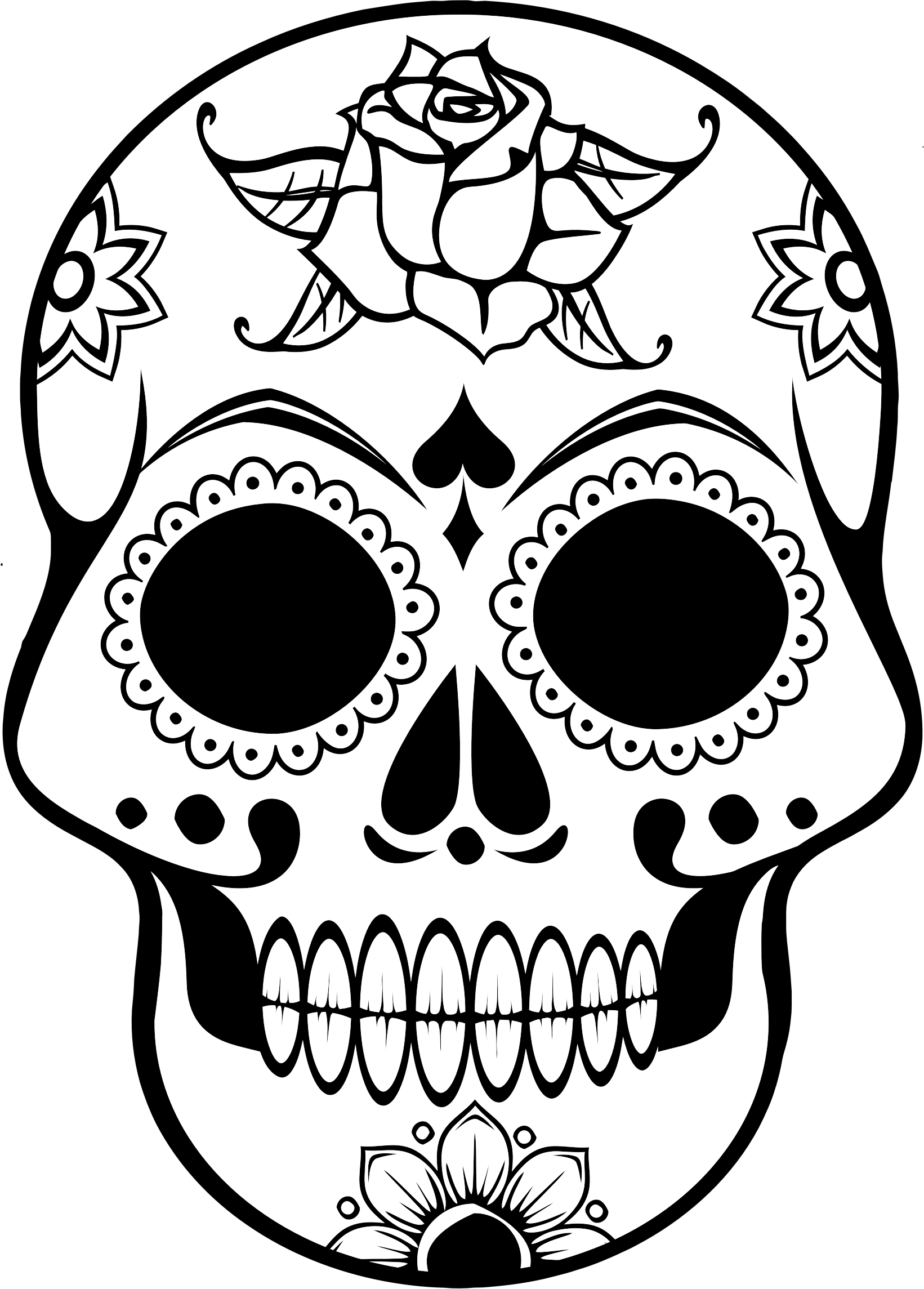 Ornate Skull Lineart by GDJ