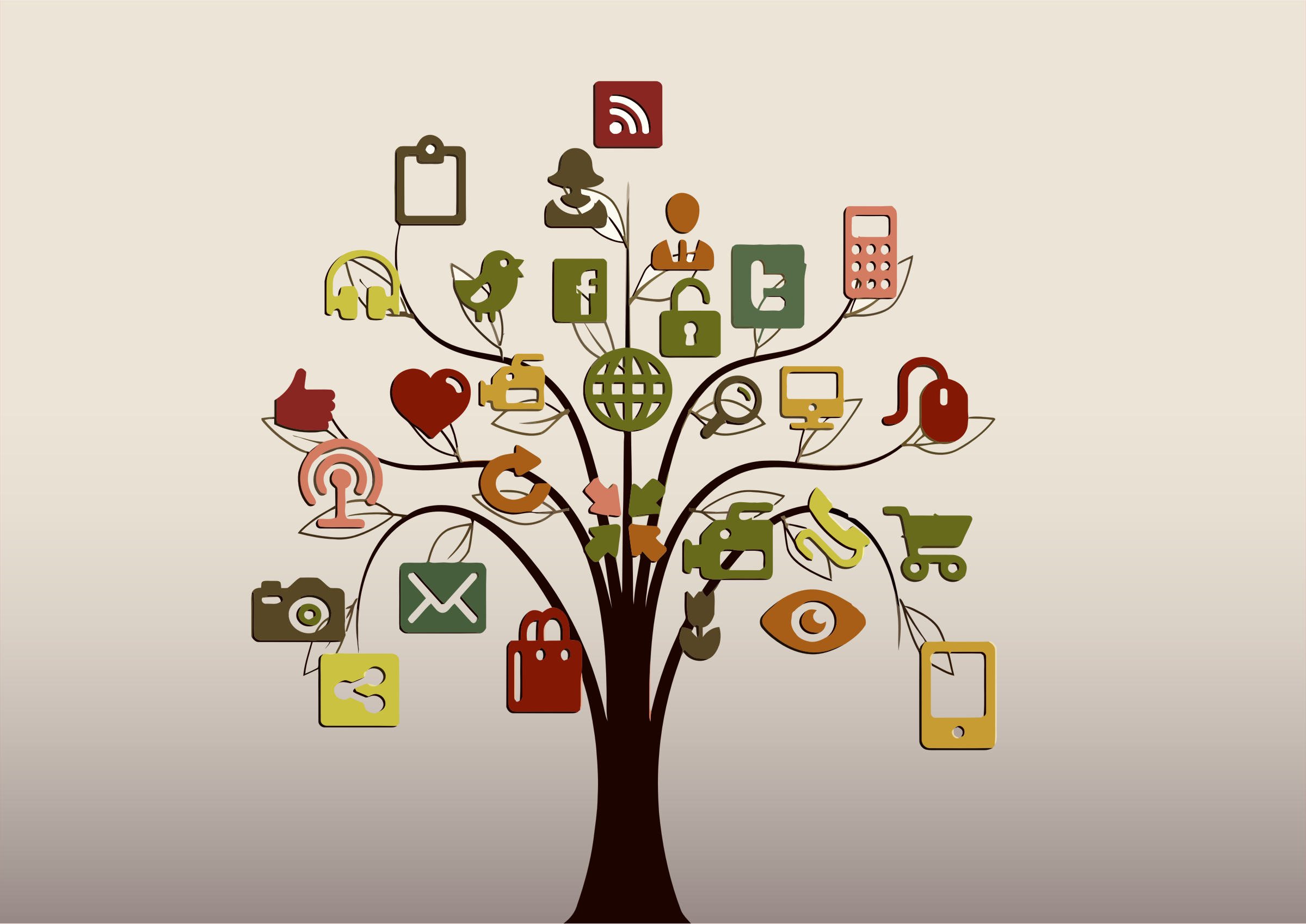 Clipart - Social Media Tree