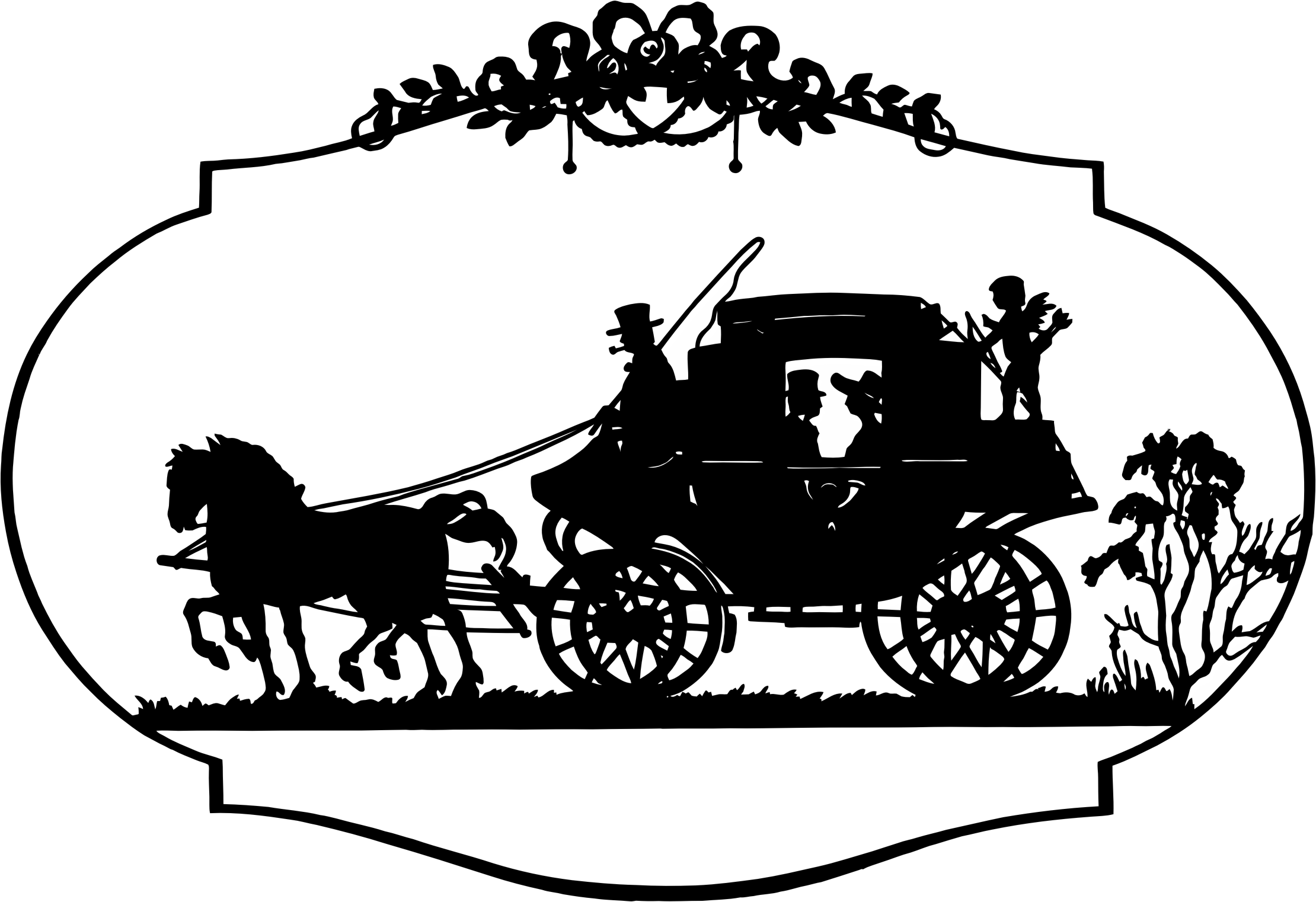 Vintage Horse And Carriage Silhouette by GDJ