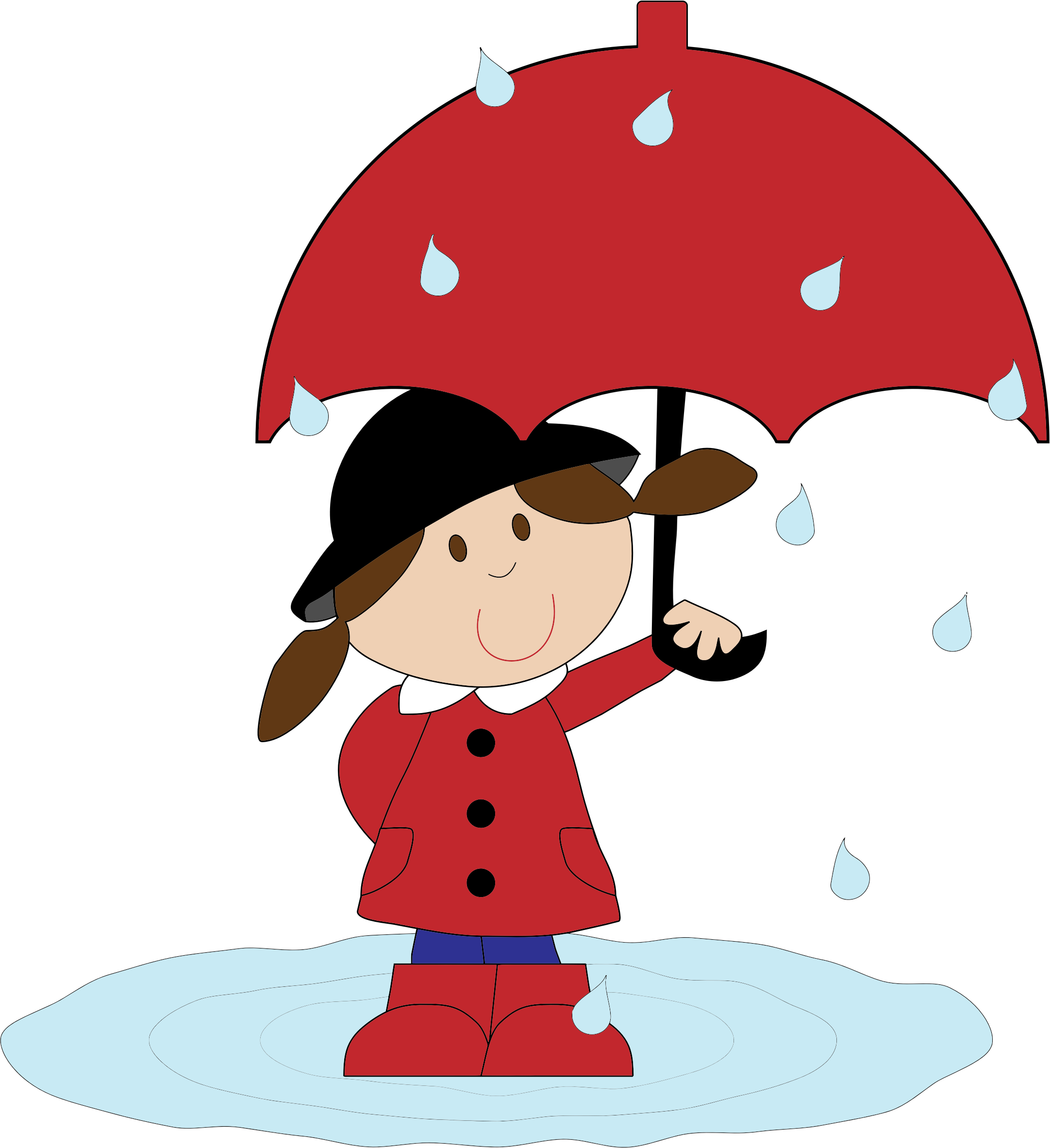 Clipart - Cartoon Girl In The Rain