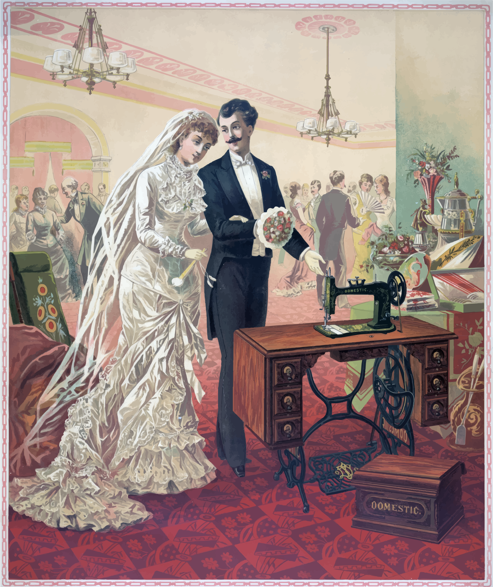 Vintage Bride And Groom Illustration by GDJ