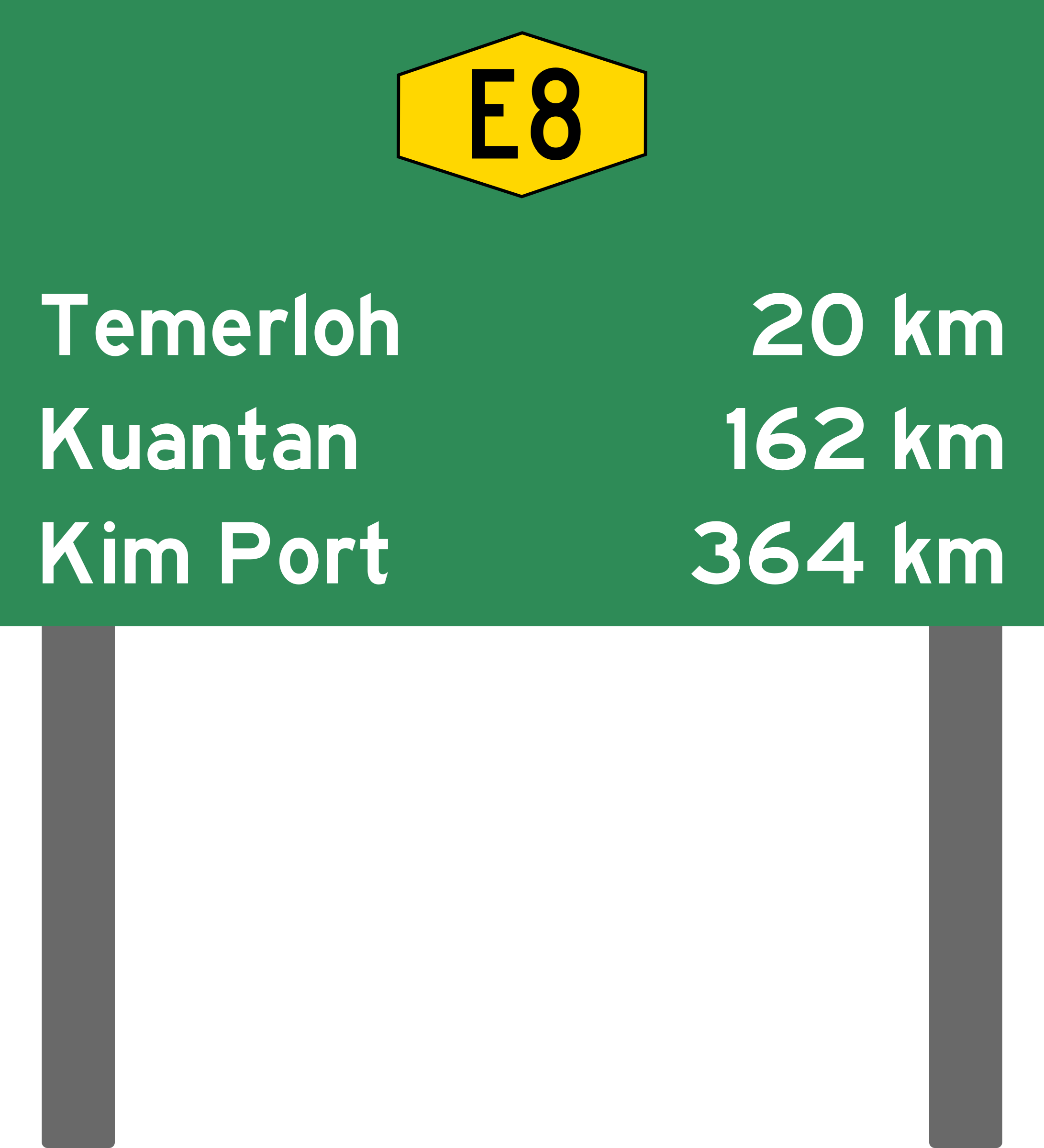 Malaysia Expressway Distance Sign by derkommander0916