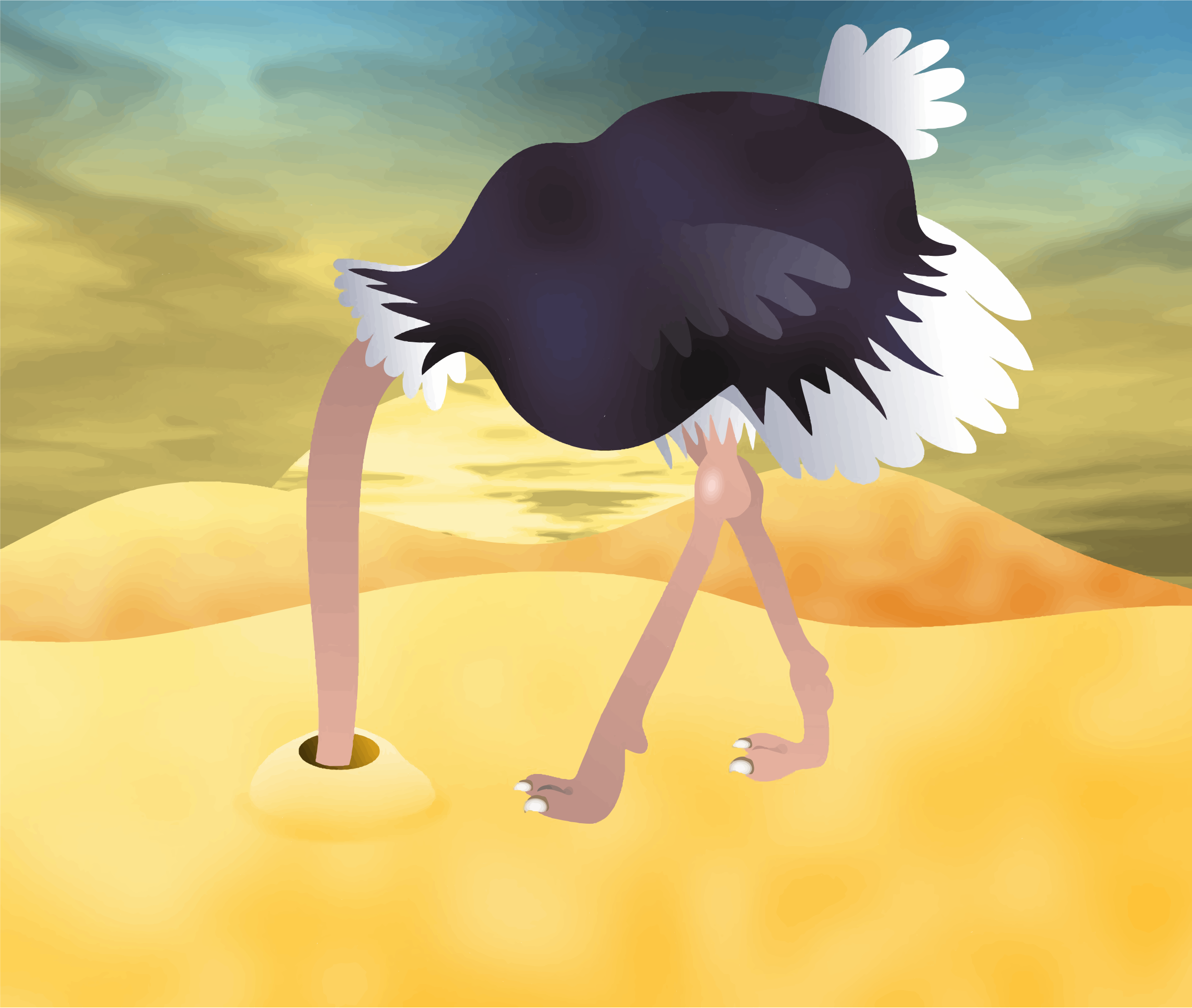 Cartoon Ostrich With Head In Sand by GDJ