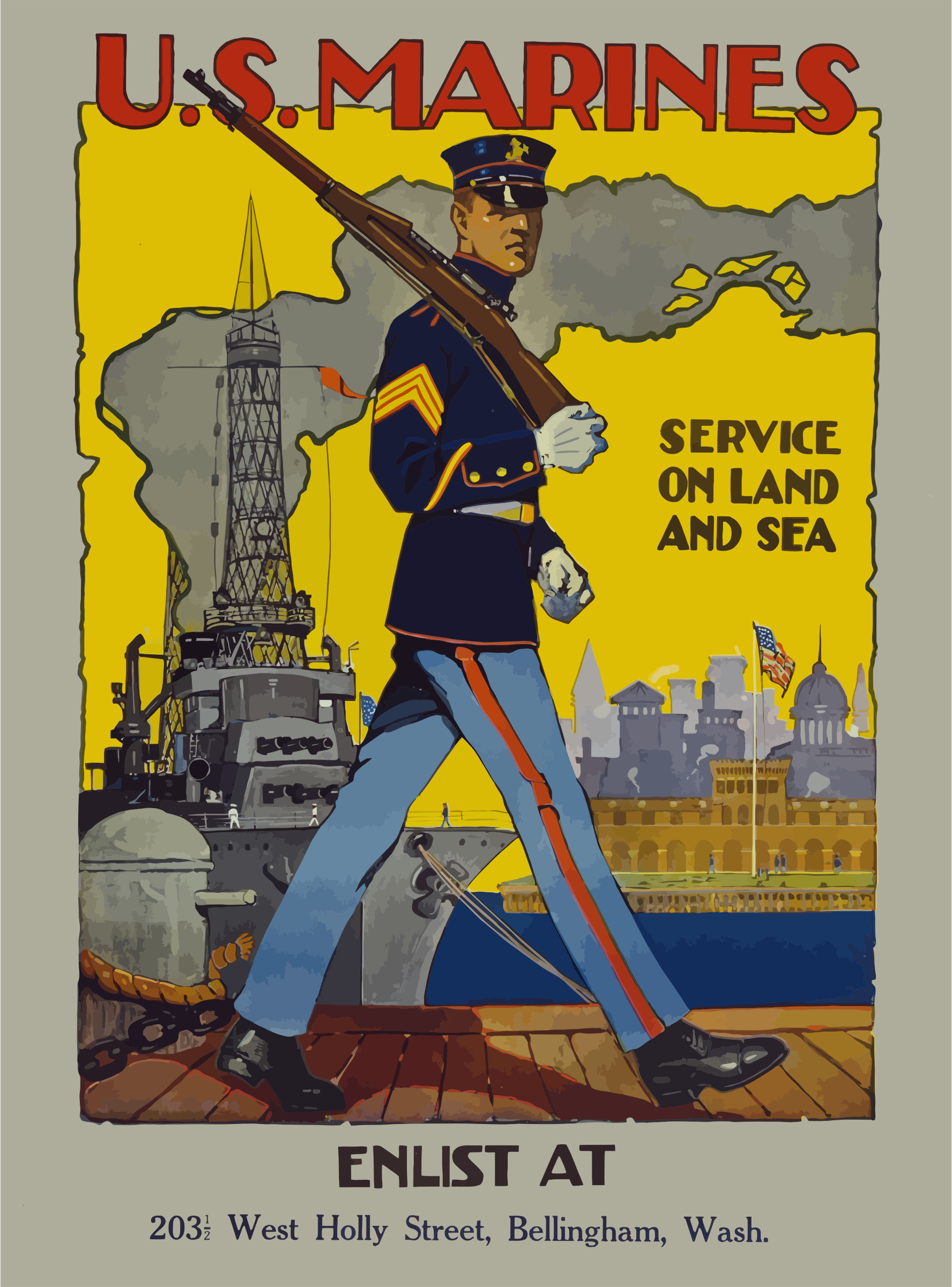 Vintage US Marines Poster by GDJ