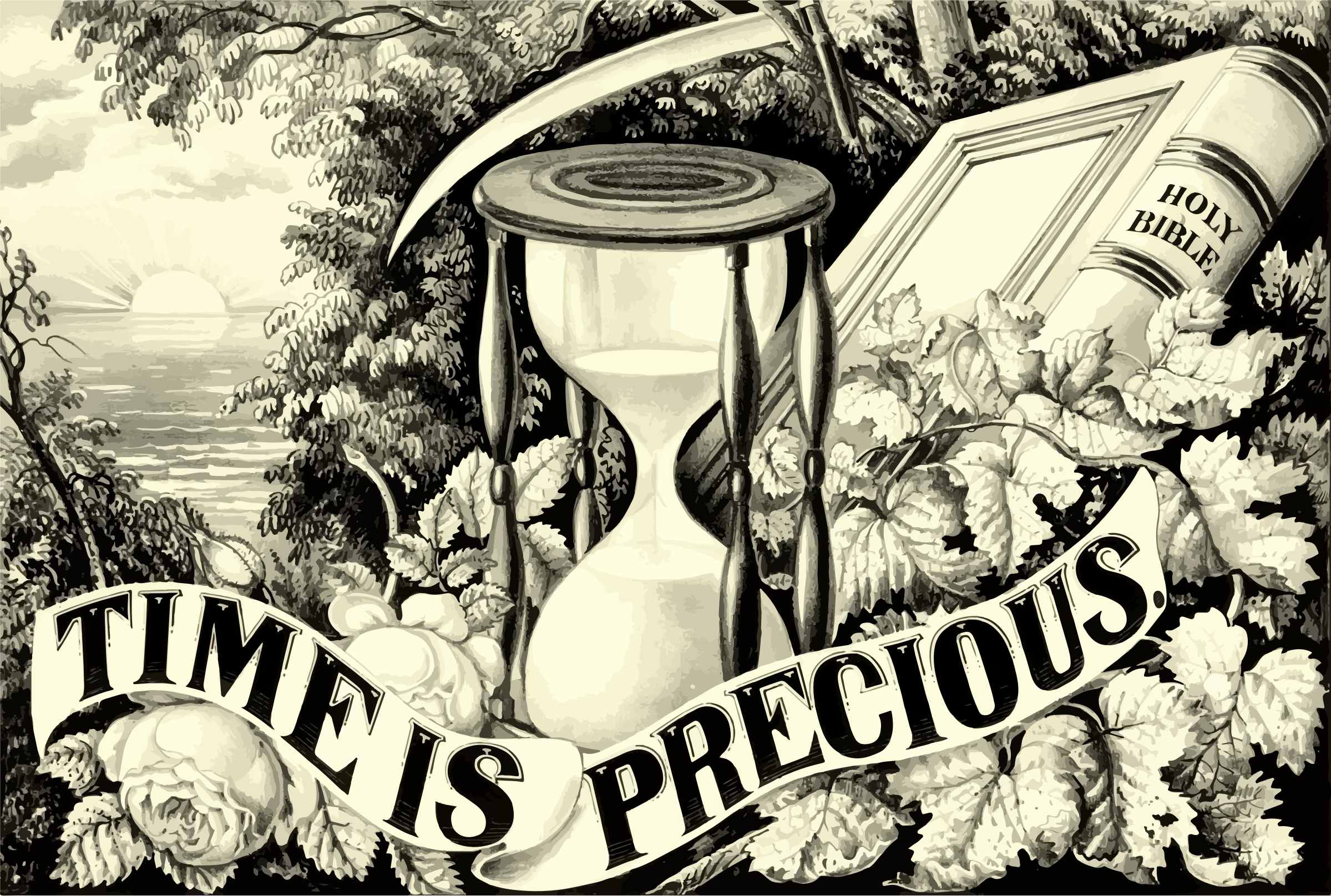 Vintage Time Is Precious Illustration by GDJ