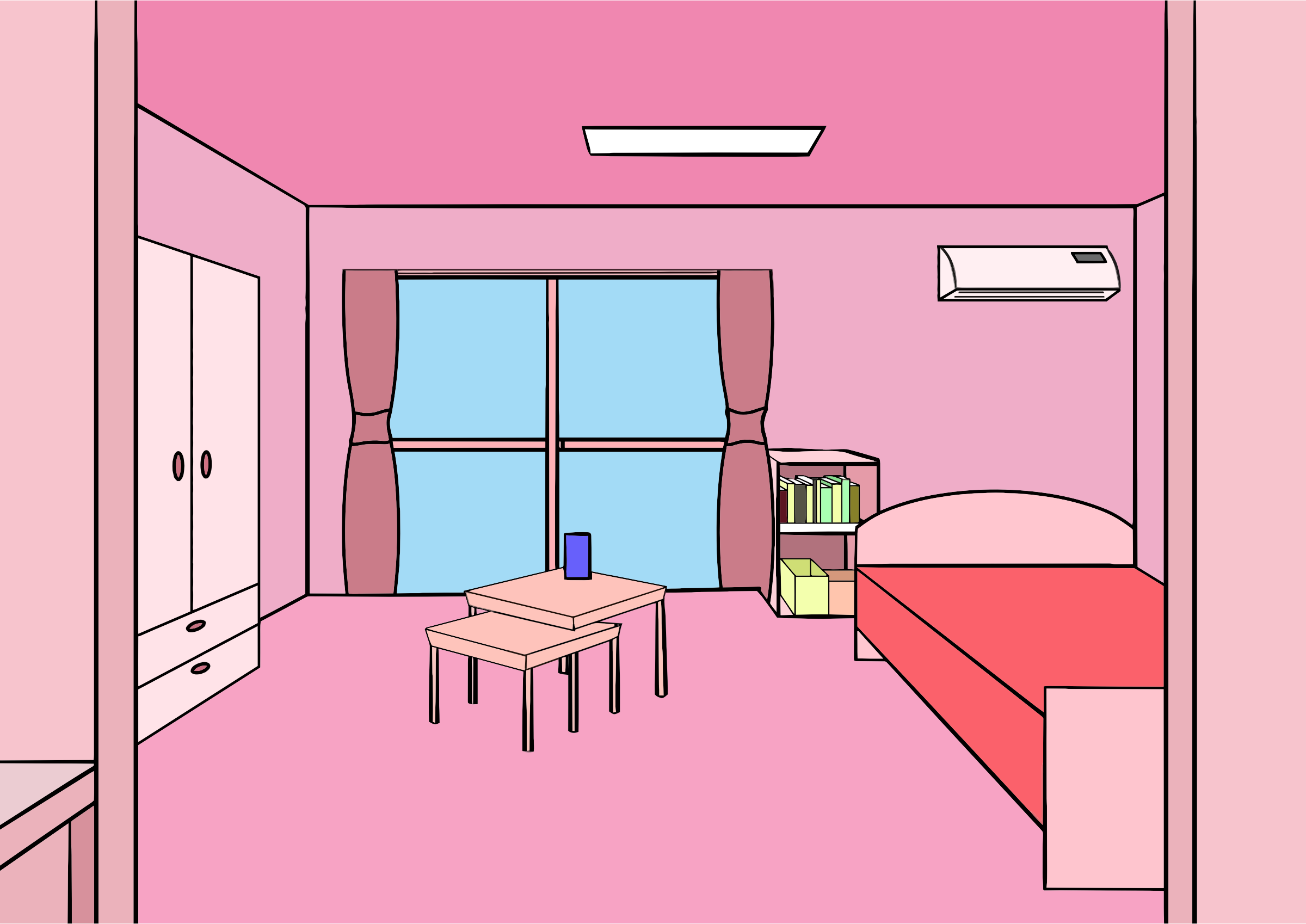Bedroom For Girls Clipart Pink Room First Person Perspective