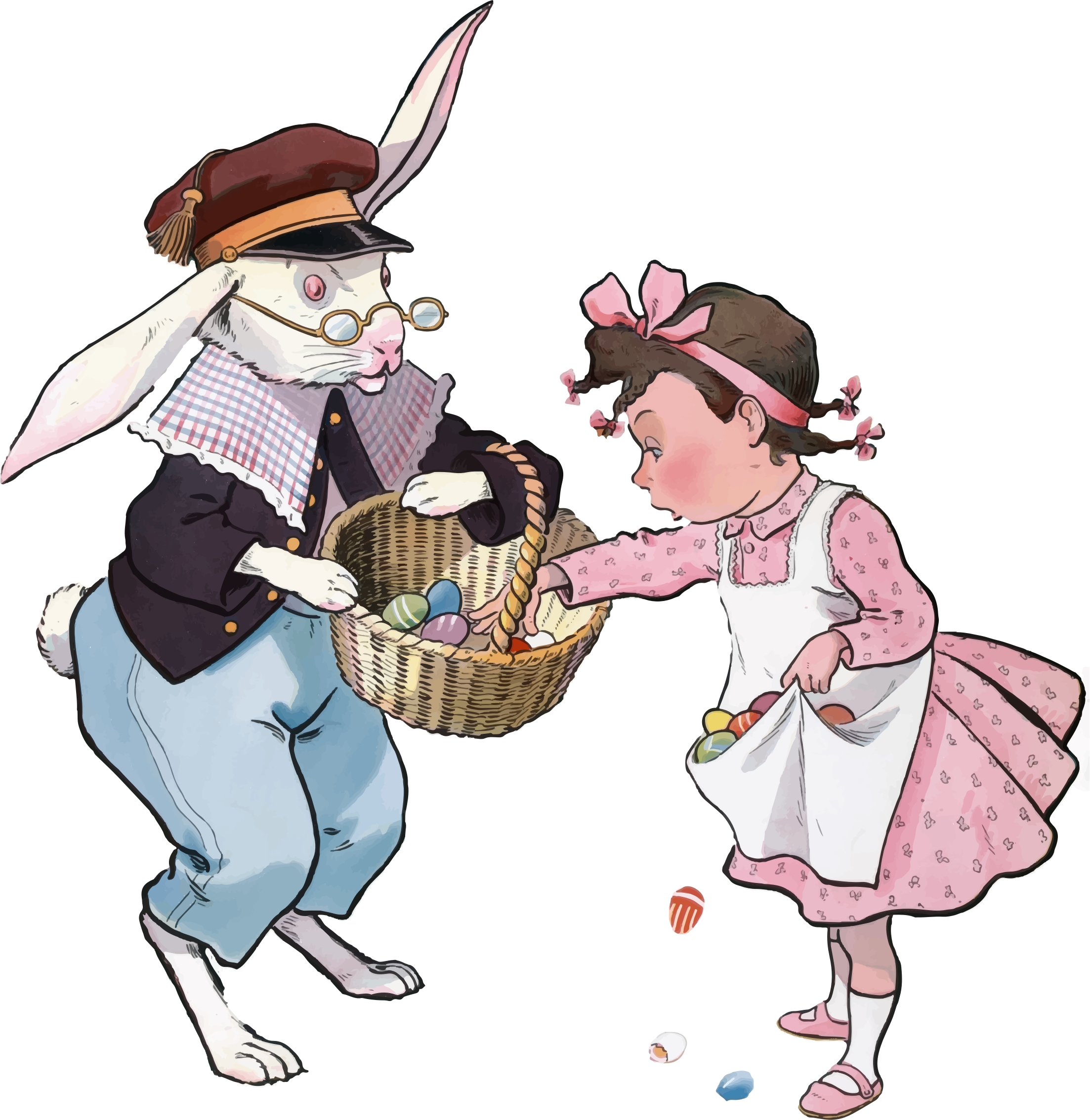 Vintage Easter Bunny And Girl by GDJ