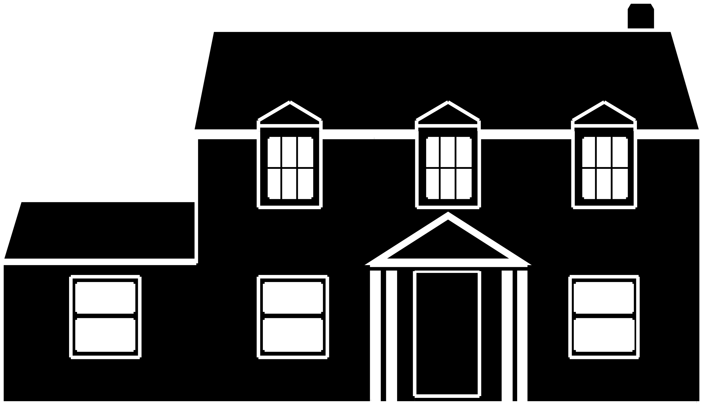 Clipart - Black And White House