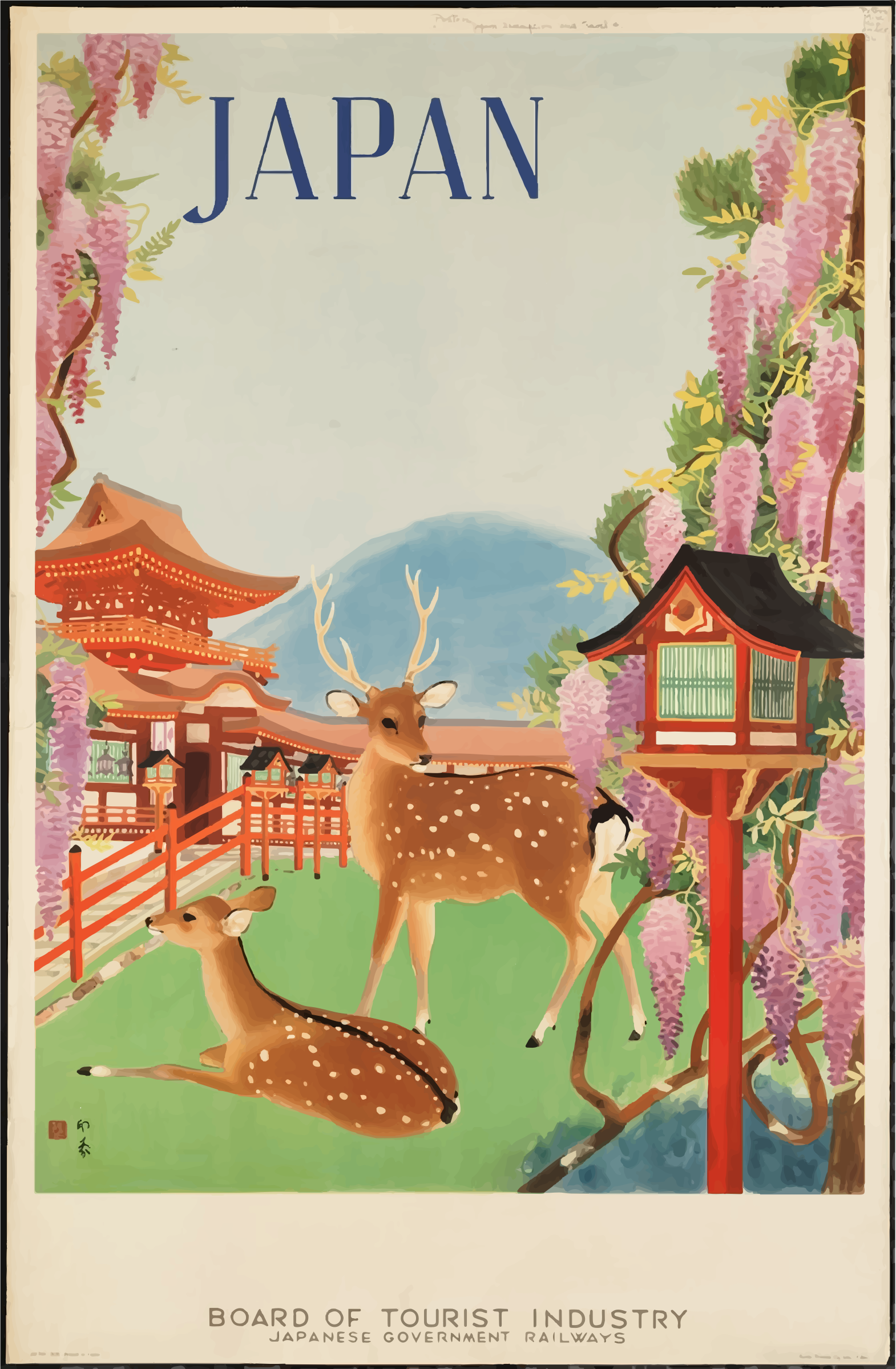Vintage Travel Poster 1930s Japan by GDJ