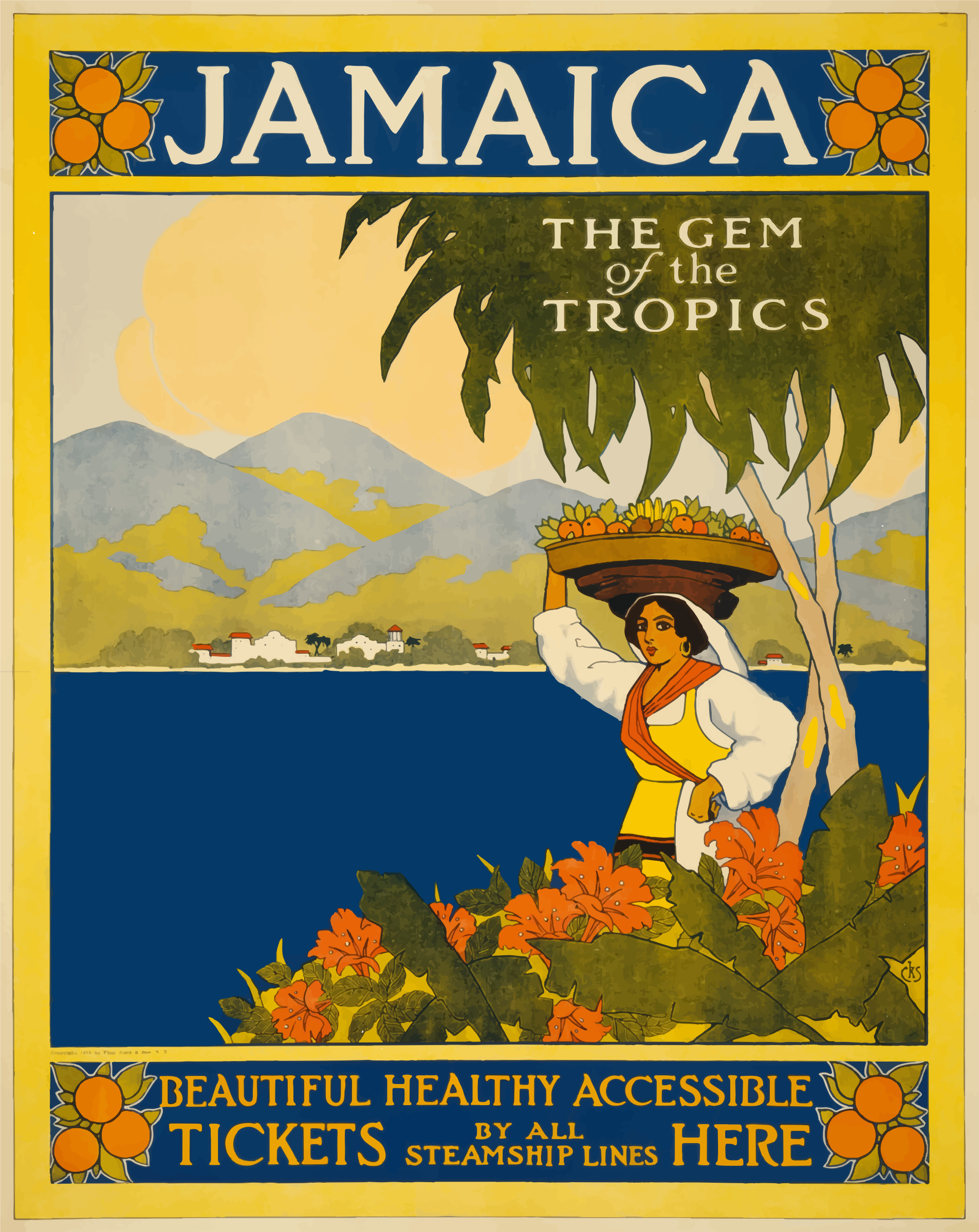 Jamaica The Gem Of The Tropics Vintage Travel Poster 1910 by GDJ