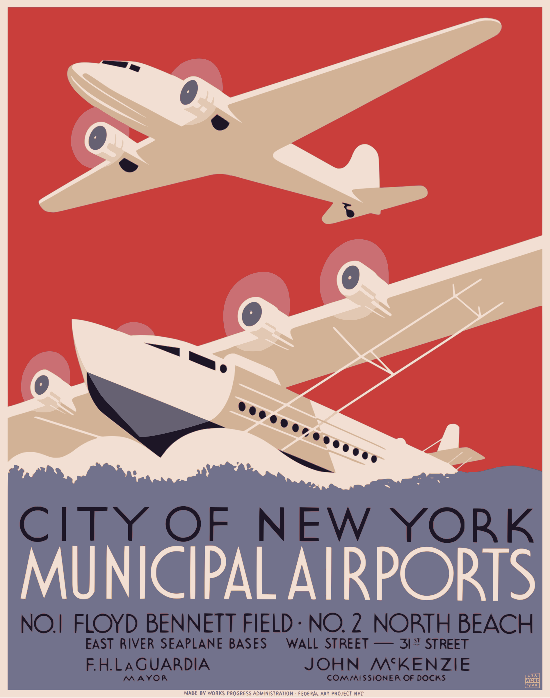 New York City Municipal Airports WPA Poster 1937 by GDJ