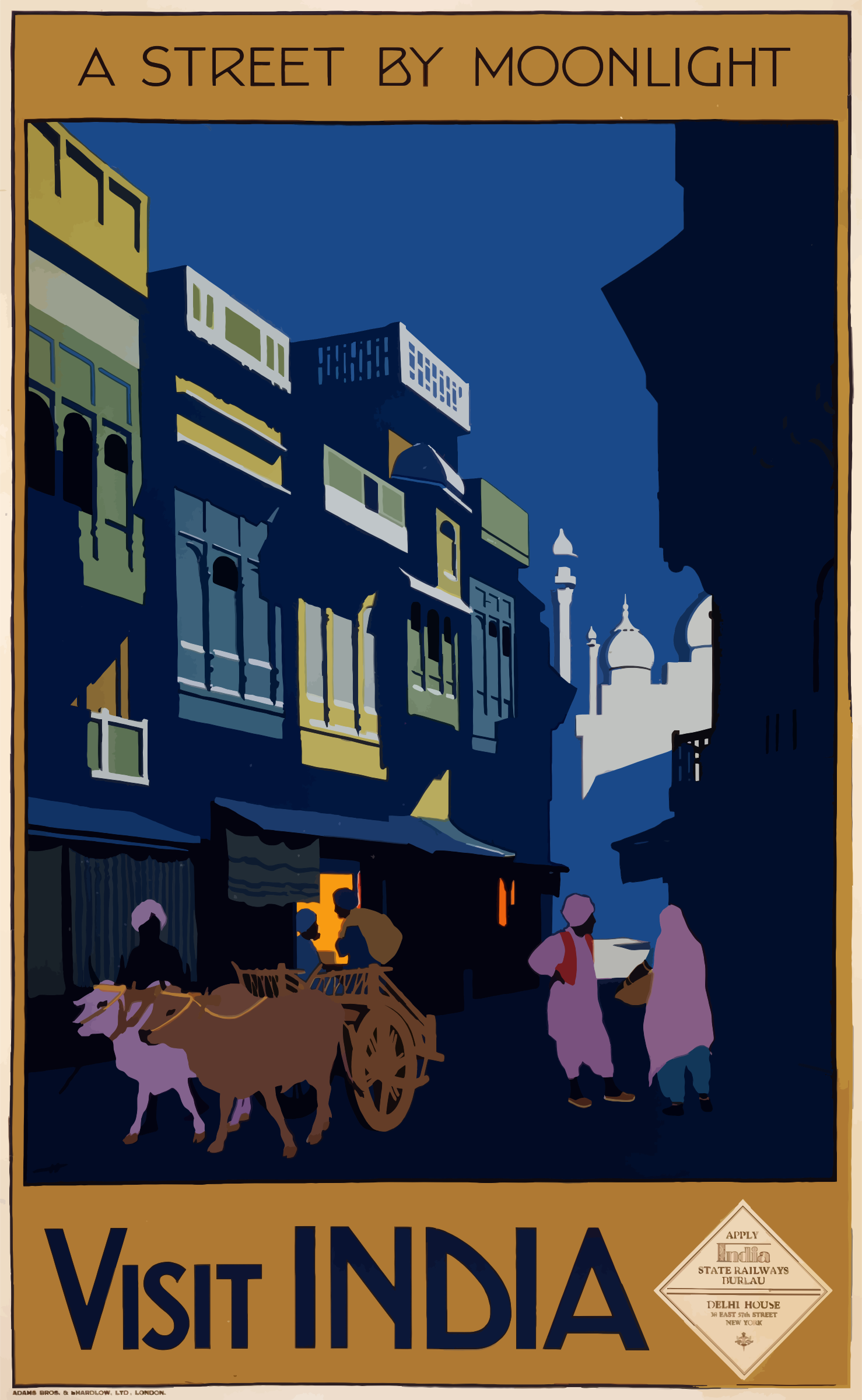 Vintage Travel Poster India A Street By Moonlight by GDJ