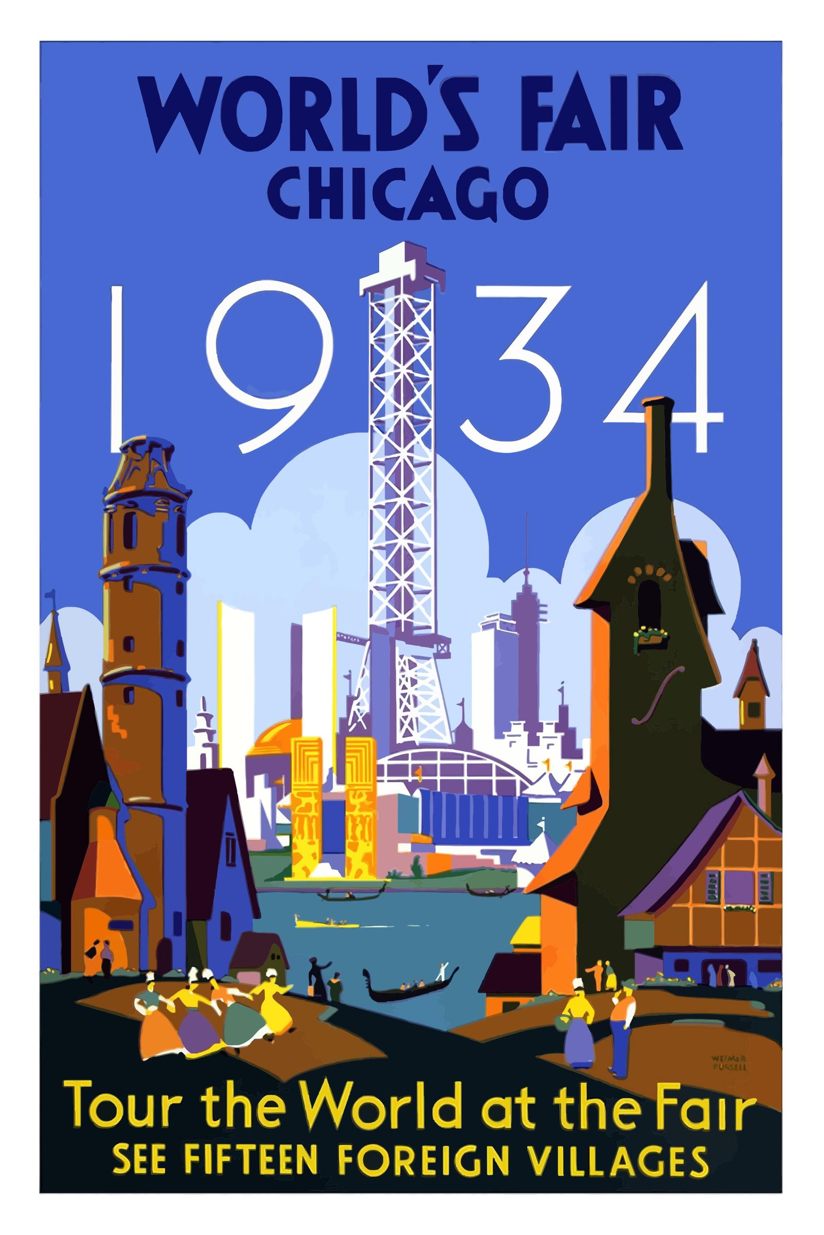 Vintage Travel Poster Chicago Worlds Fair 1934 by GDJ