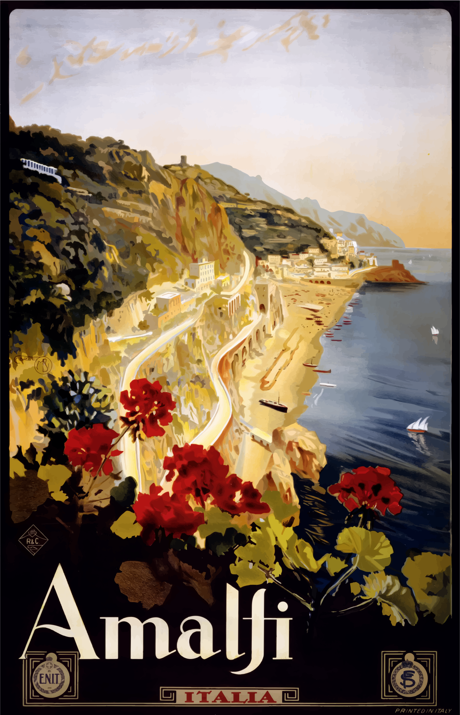 Vintage Travel Poster Amalfi Italy by GDJ