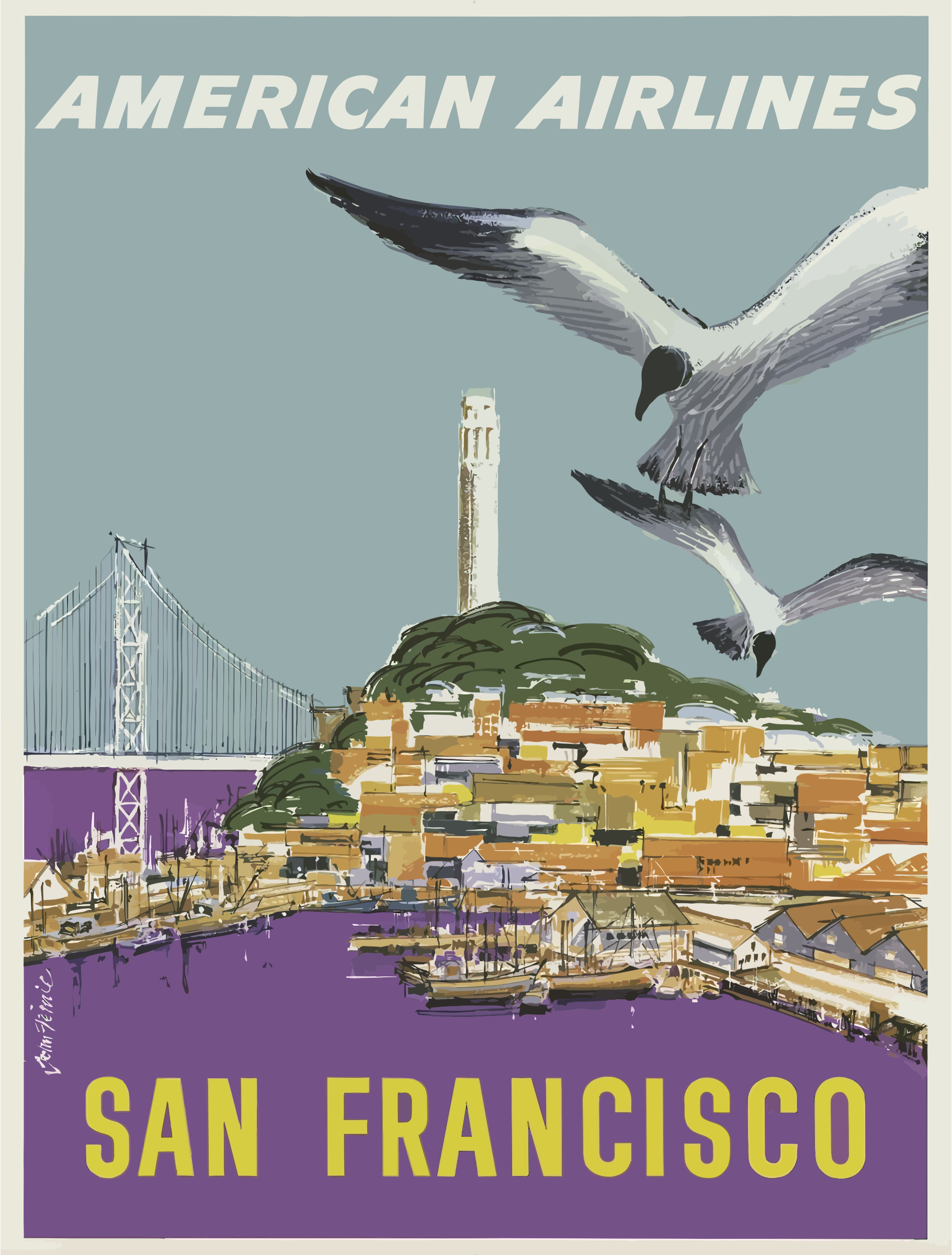 Vintage Travel Poster San Francisco by GDJ