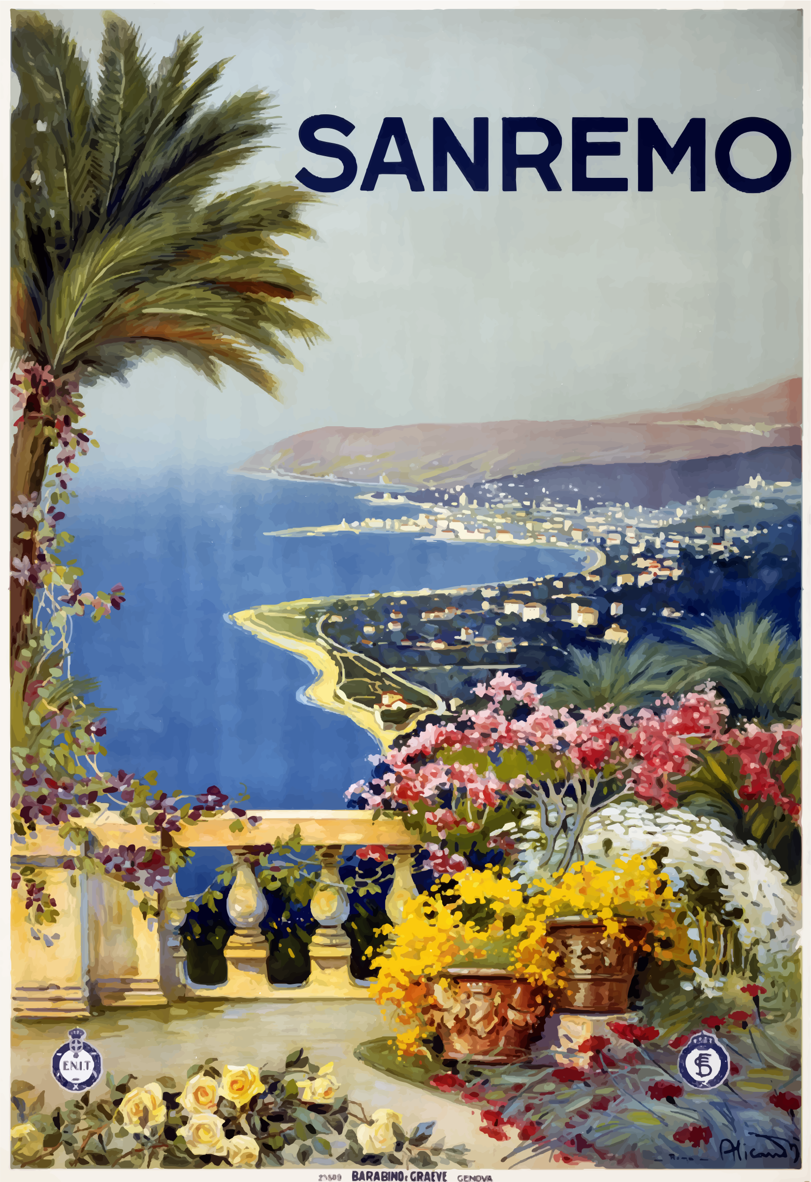 Vintage Travel Poster Sanremo Italy by GDJ